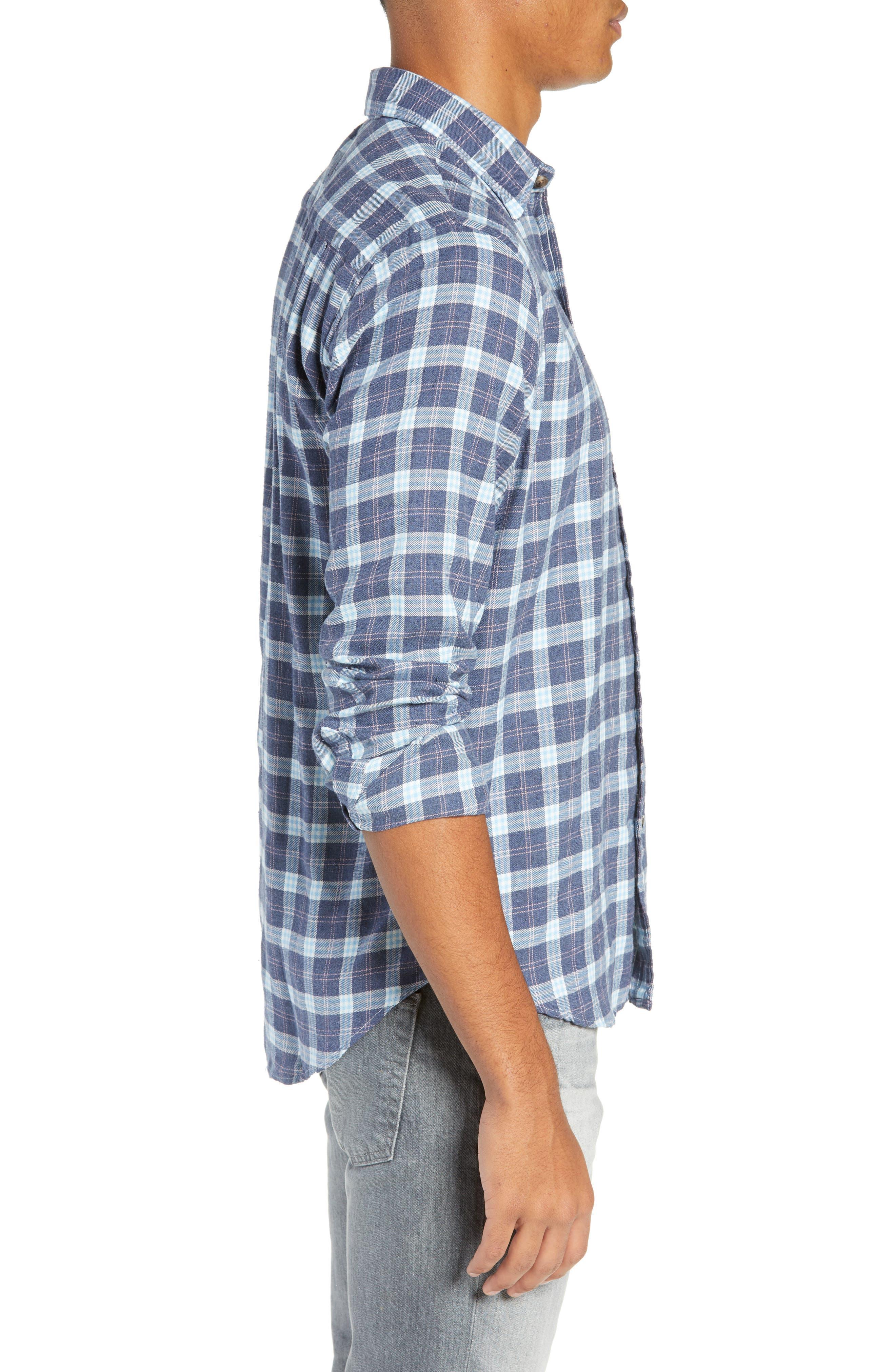 Brushed Alpine Regular Fit Flannel Shirt,                             Alternate thumbnail 4, color,                             INDIGO BLUE CORAL