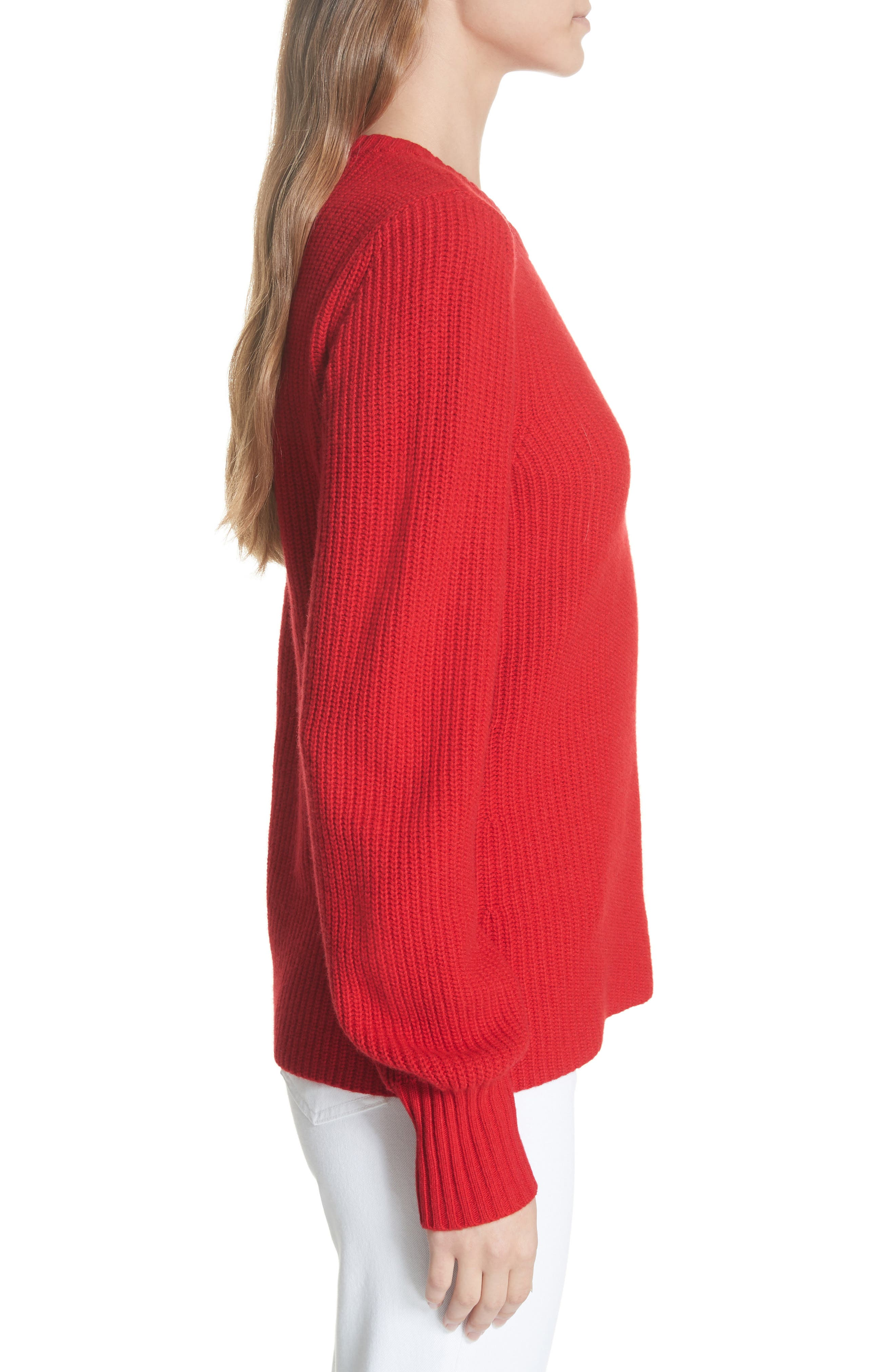 Kennedy Shaker Stitch Sweater,                             Alternate thumbnail 3, color,                             TRUE RED