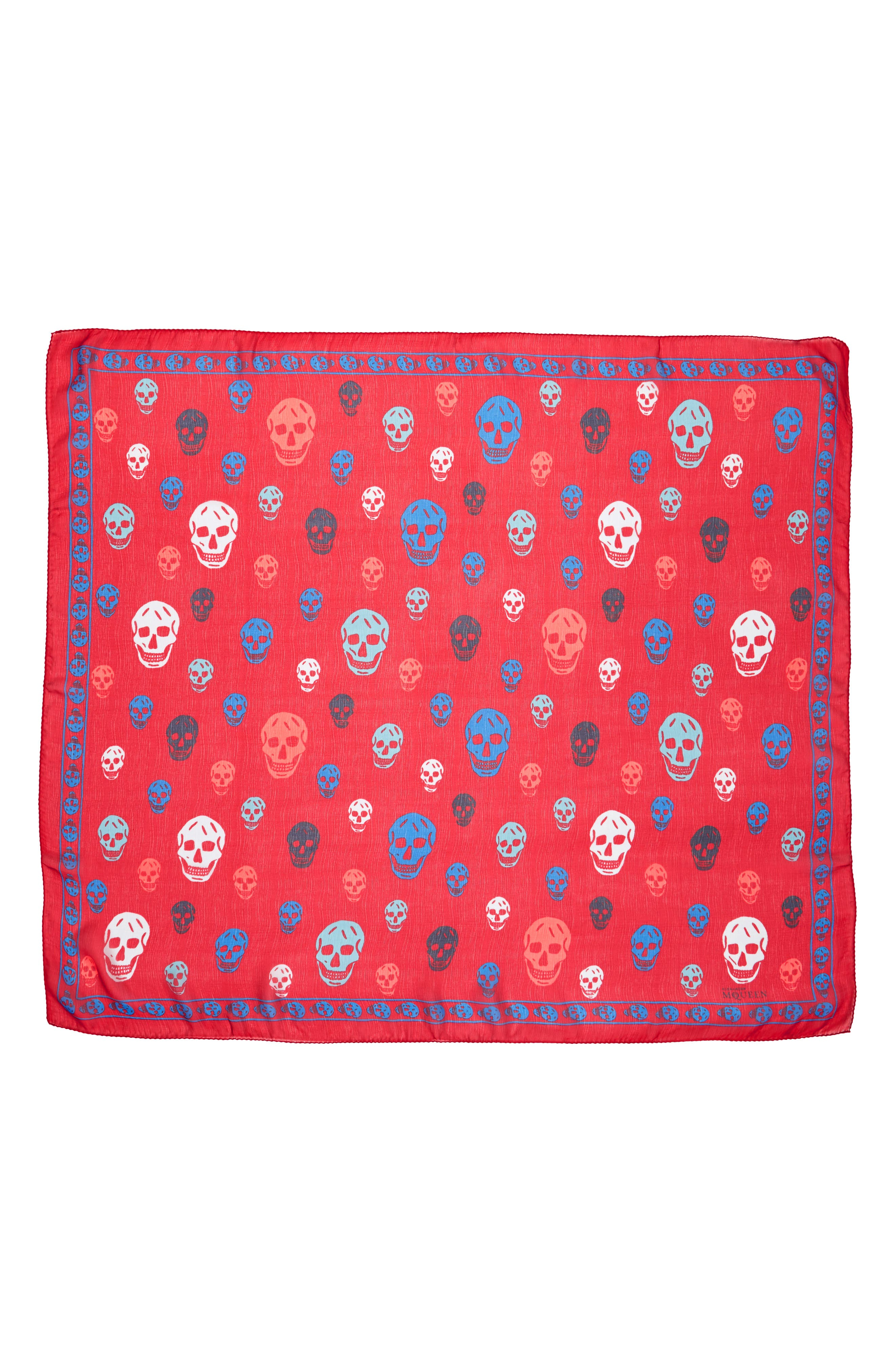 Skull Print Silk Scarf,                         Main,                         color, 402