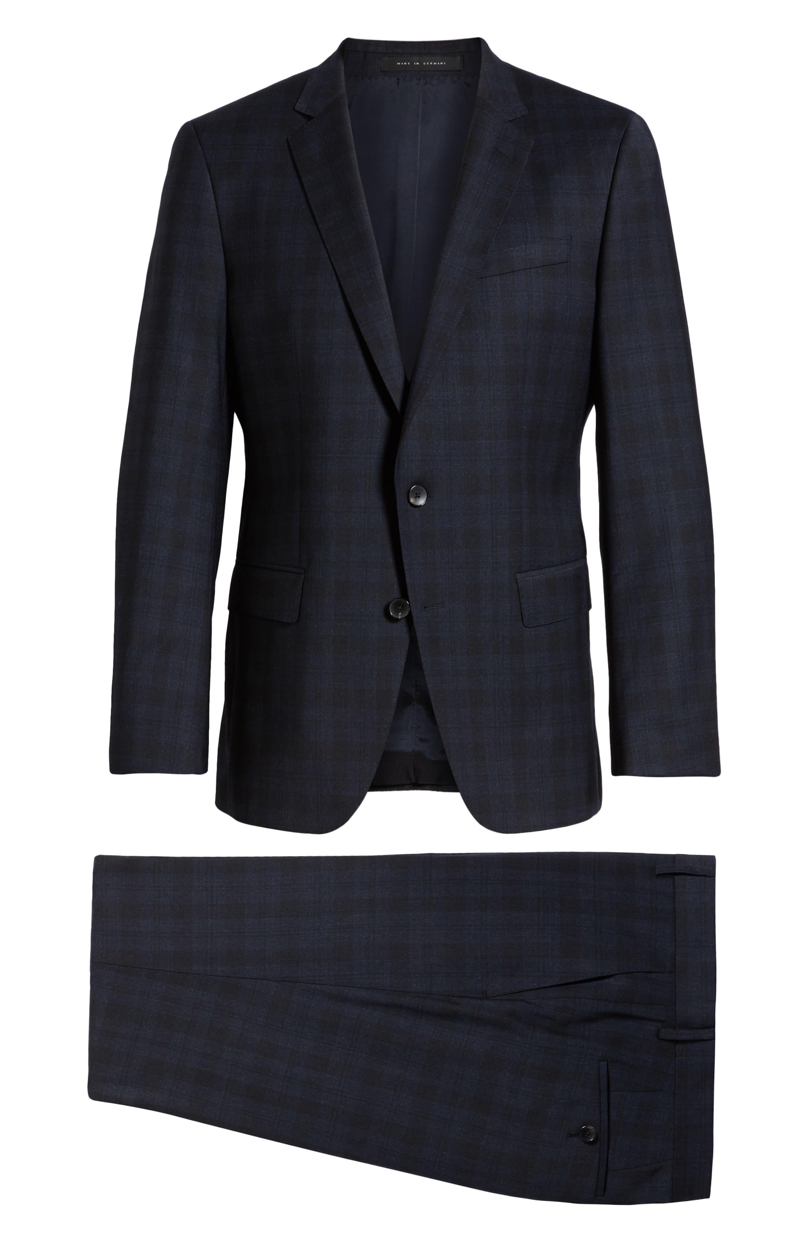 Huge/Genius Trim Fit Stretch Plaid Wool Suit,                             Alternate thumbnail 7, color,                             BLUE