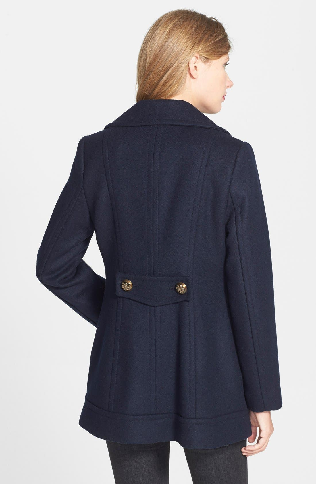Double Breasted Wool Blend Peacoat,                             Alternate thumbnail 2, color,                             001