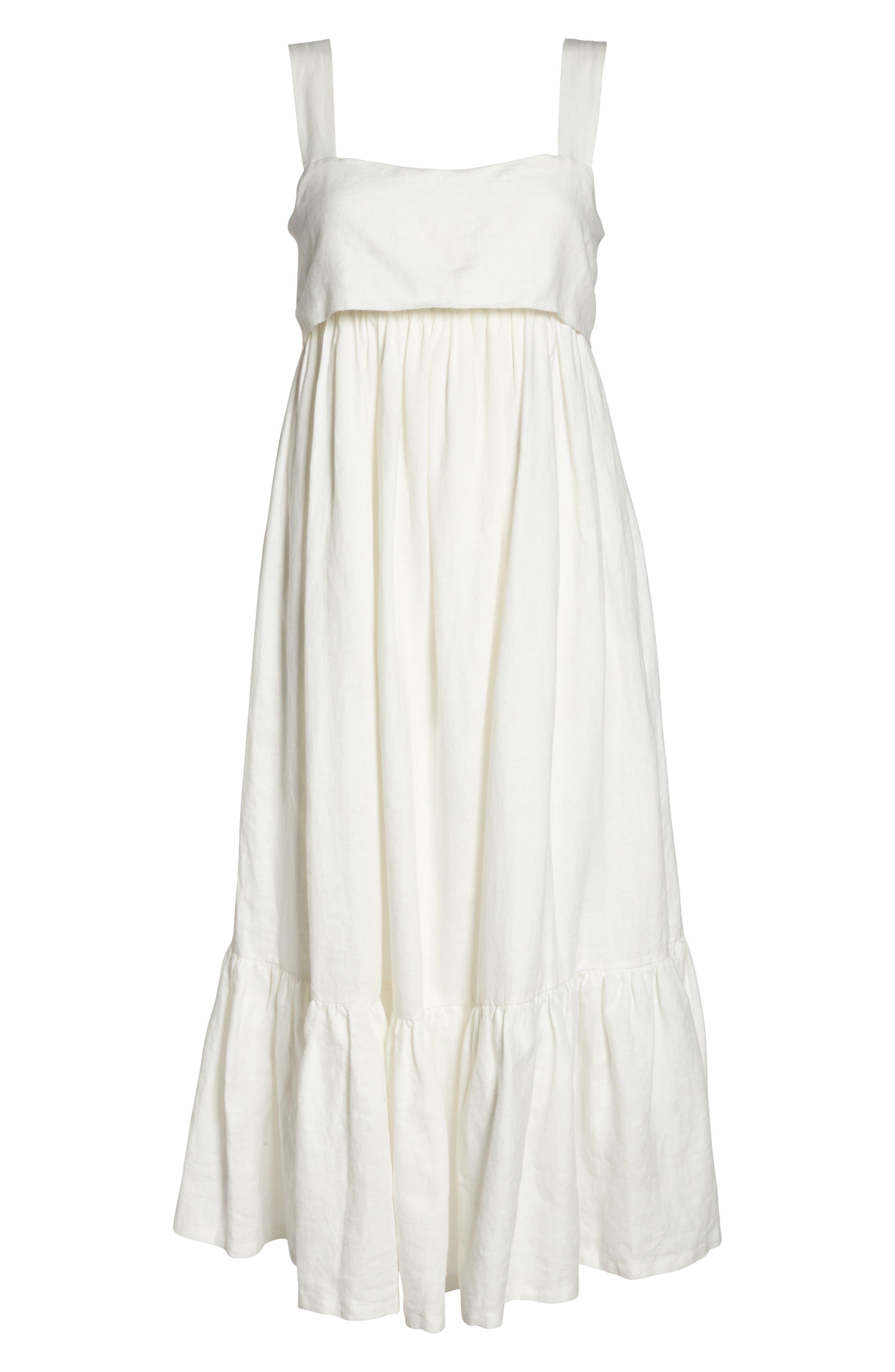 Forget Me Not Linen Midi Dress,                             Alternate thumbnail 7, color,                             100