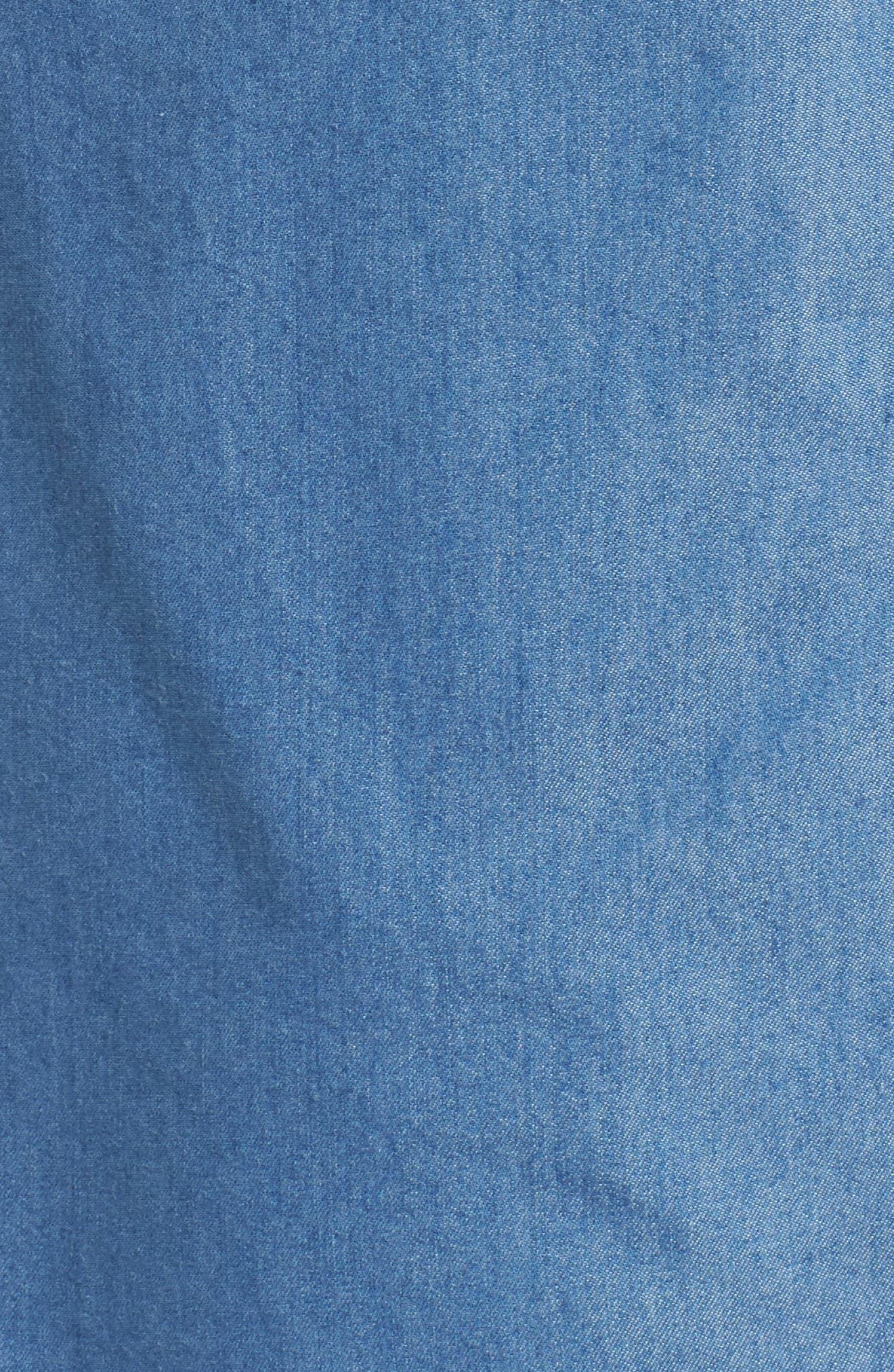 MICHAEL MICHAEL KORS,                             Dog Tag Chambray Shirt,                             Alternate thumbnail 5, color,                             LIGHT CADET WASH