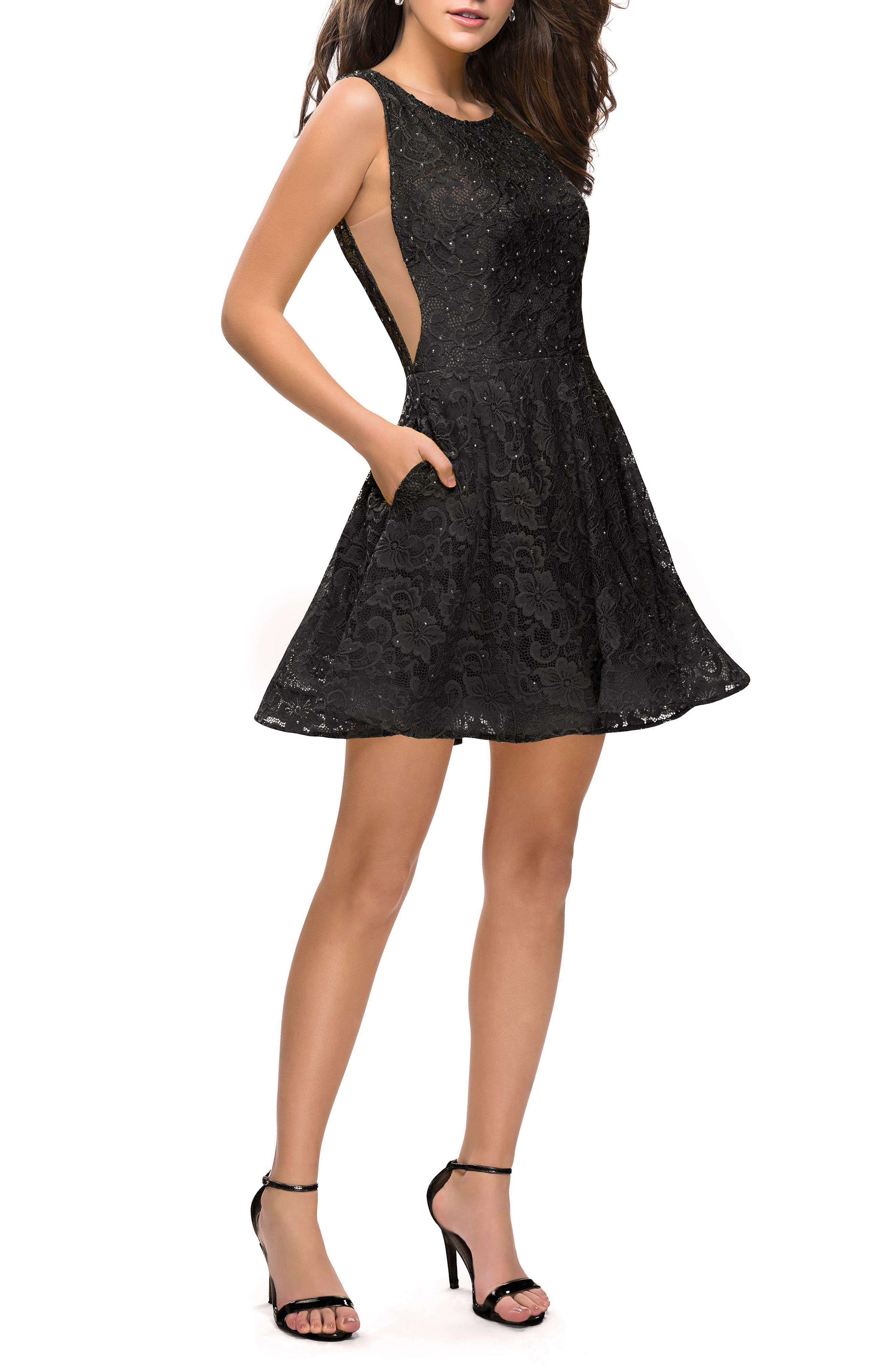 La Femme Lace Fit & Flare Party Dress, Black