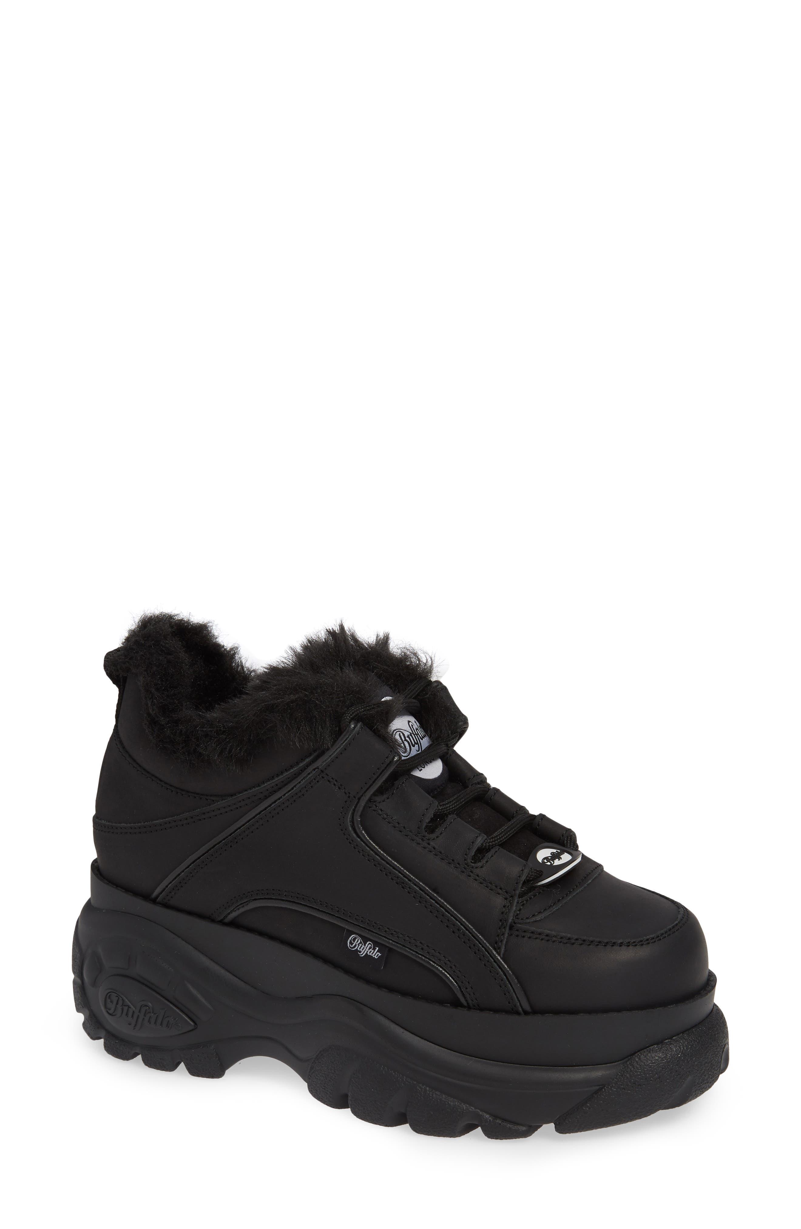 x Buffalo Platform Sneaker with Faux Fur Trim,                         Main,                         color, 001