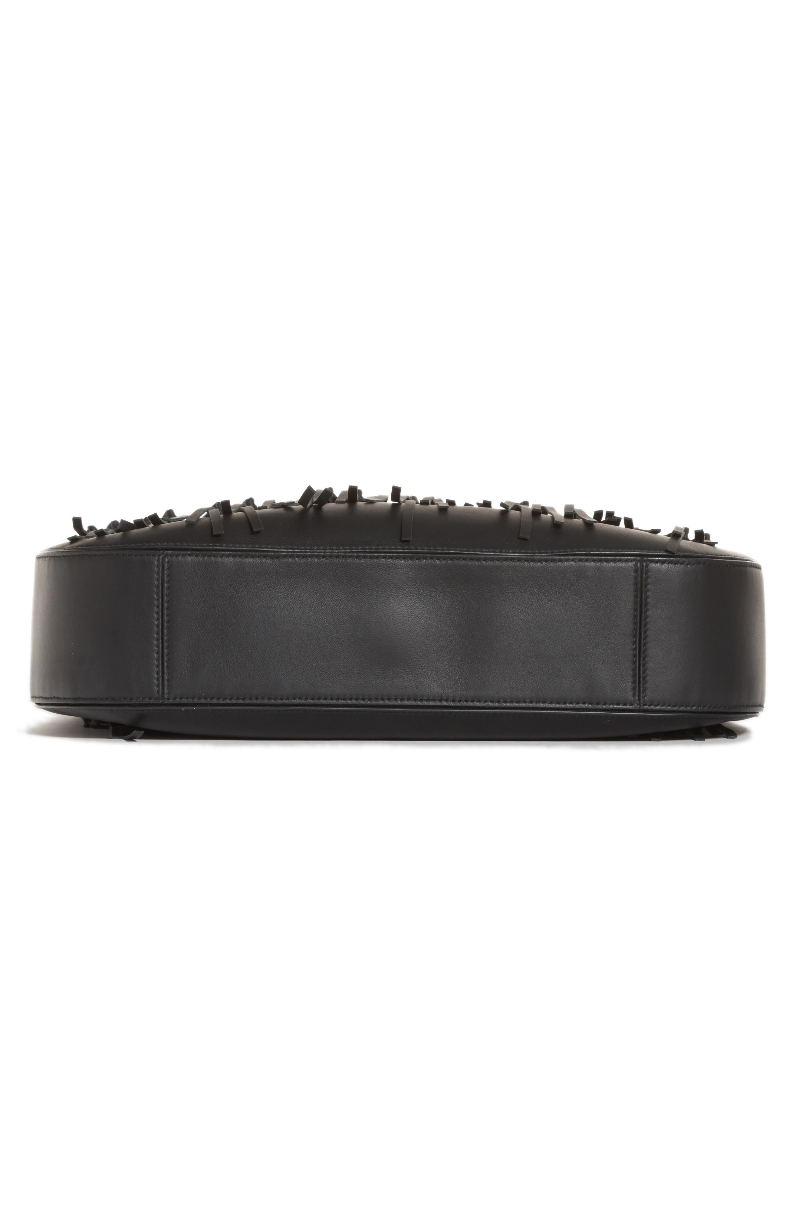 Large Loop Fringe Leather Hobo,                             Alternate thumbnail 4, color,                             001