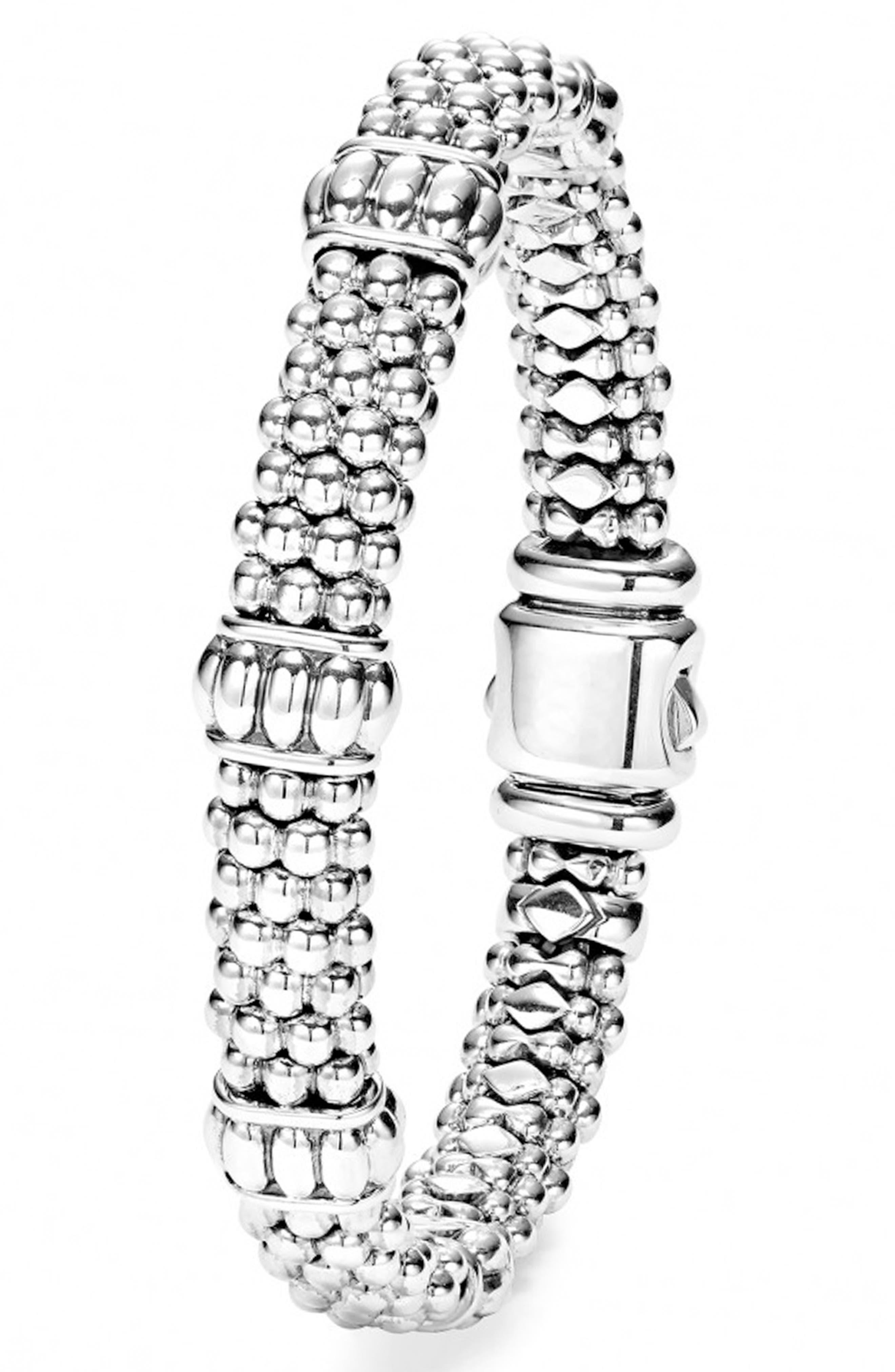 Fluted Station Caviar Rope Bracelet,                             Alternate thumbnail 5, color,                             SILVER