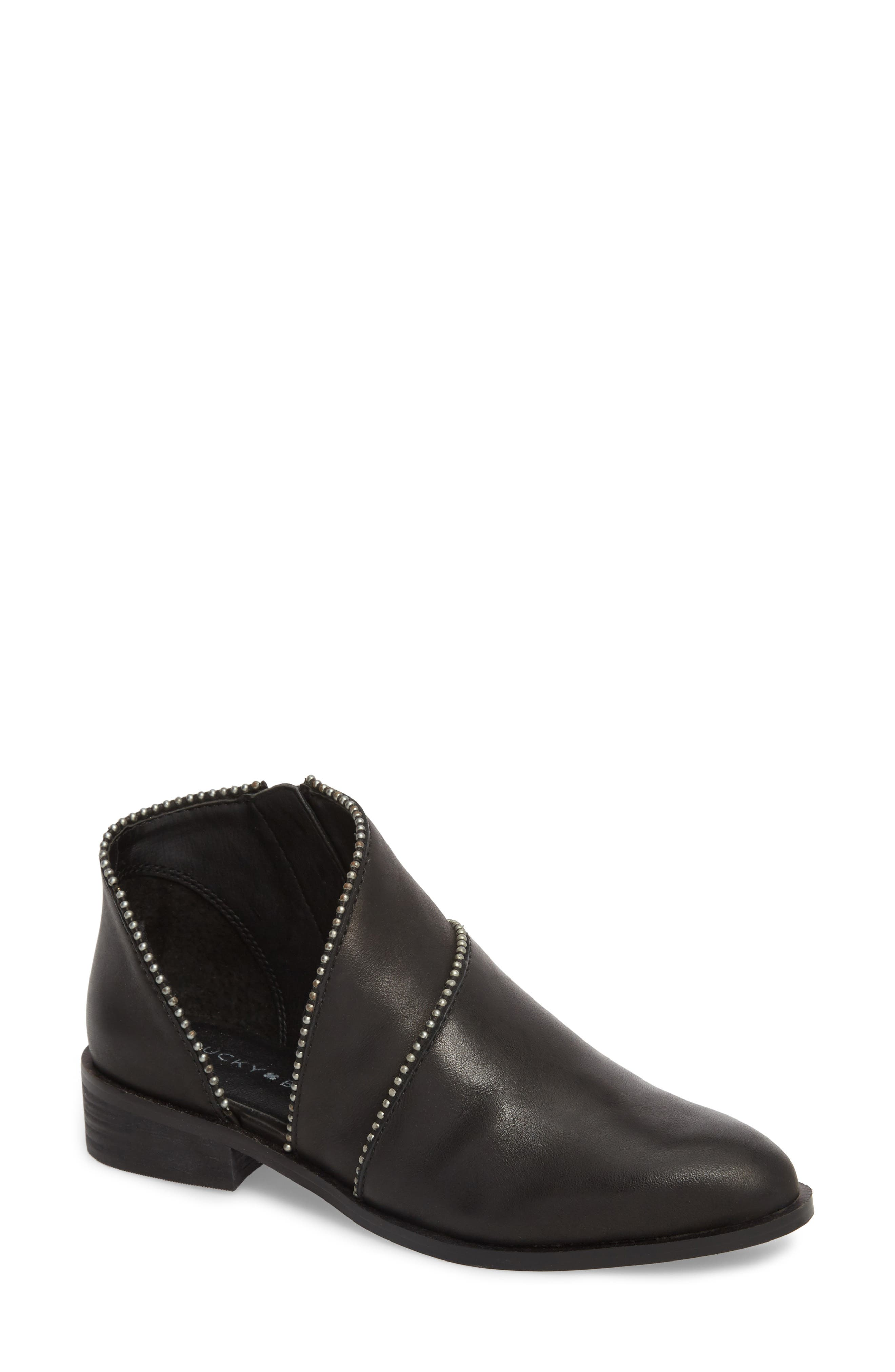 Prucella Bootie,                             Main thumbnail 1, color,                             BLACK LEATHER