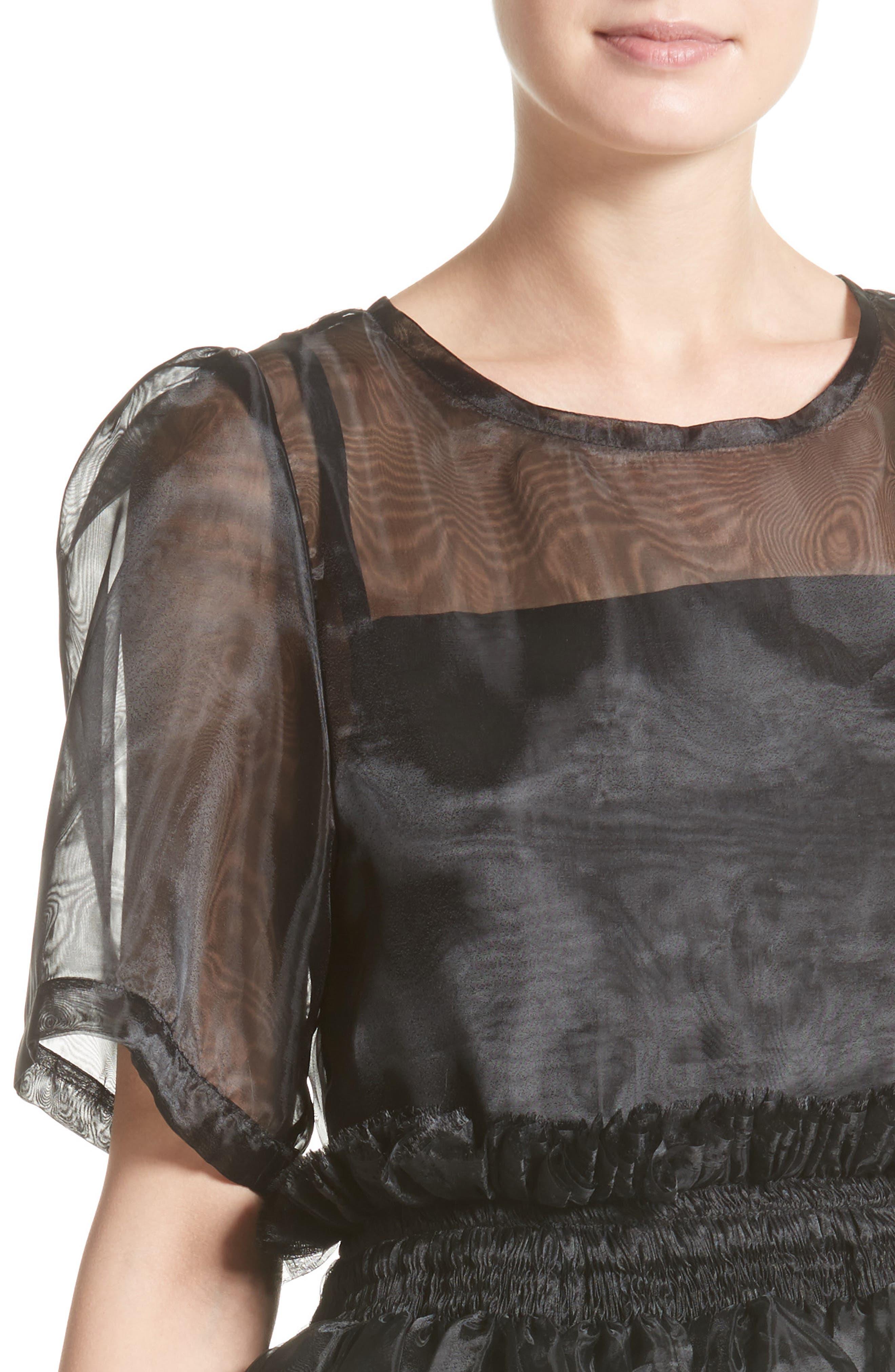 Addison Tulle Dress,                             Alternate thumbnail 4, color,                             001
