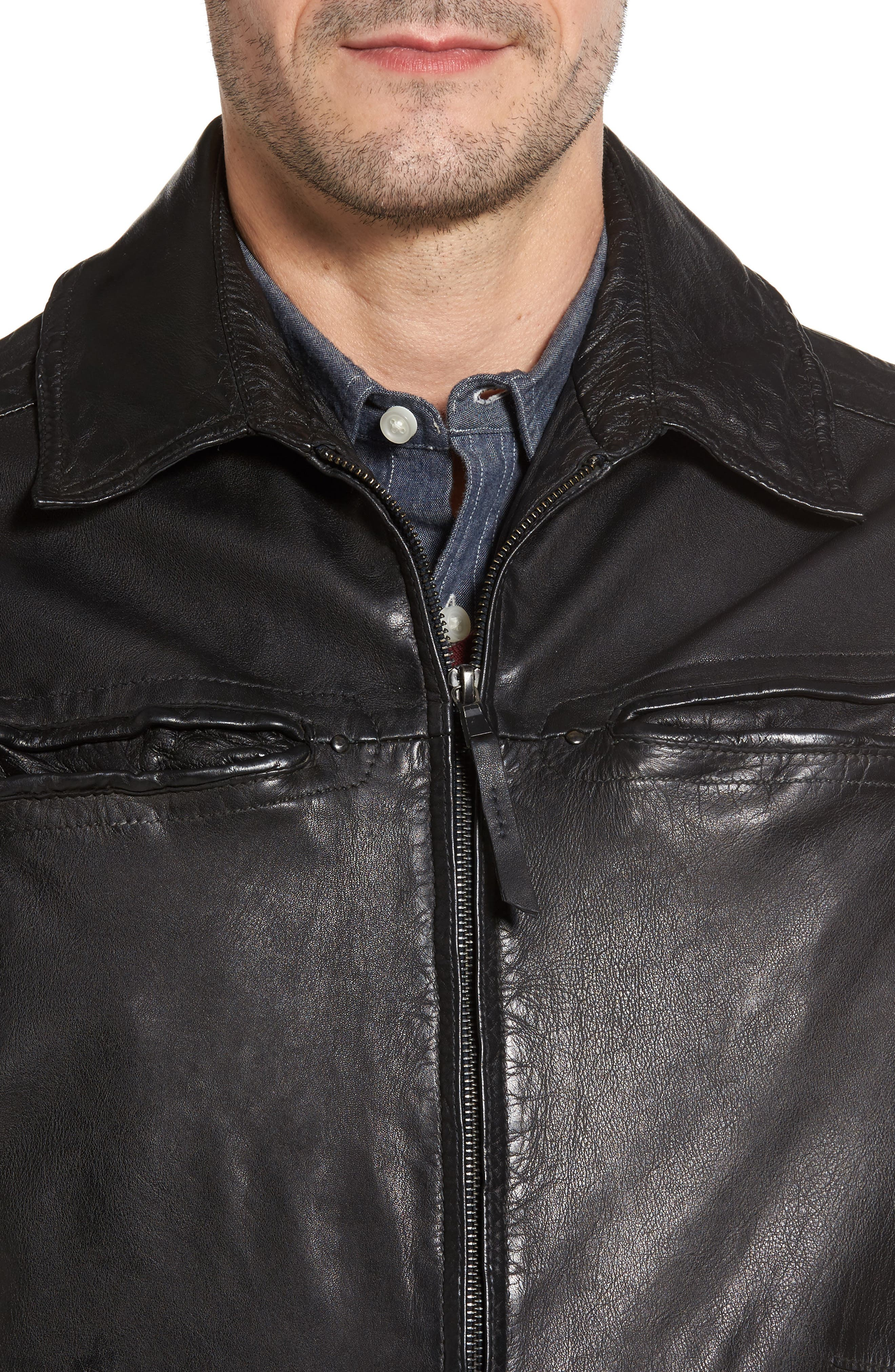 Contemporary Fit Washed Leather Jacket,                             Alternate thumbnail 4, color,                             001