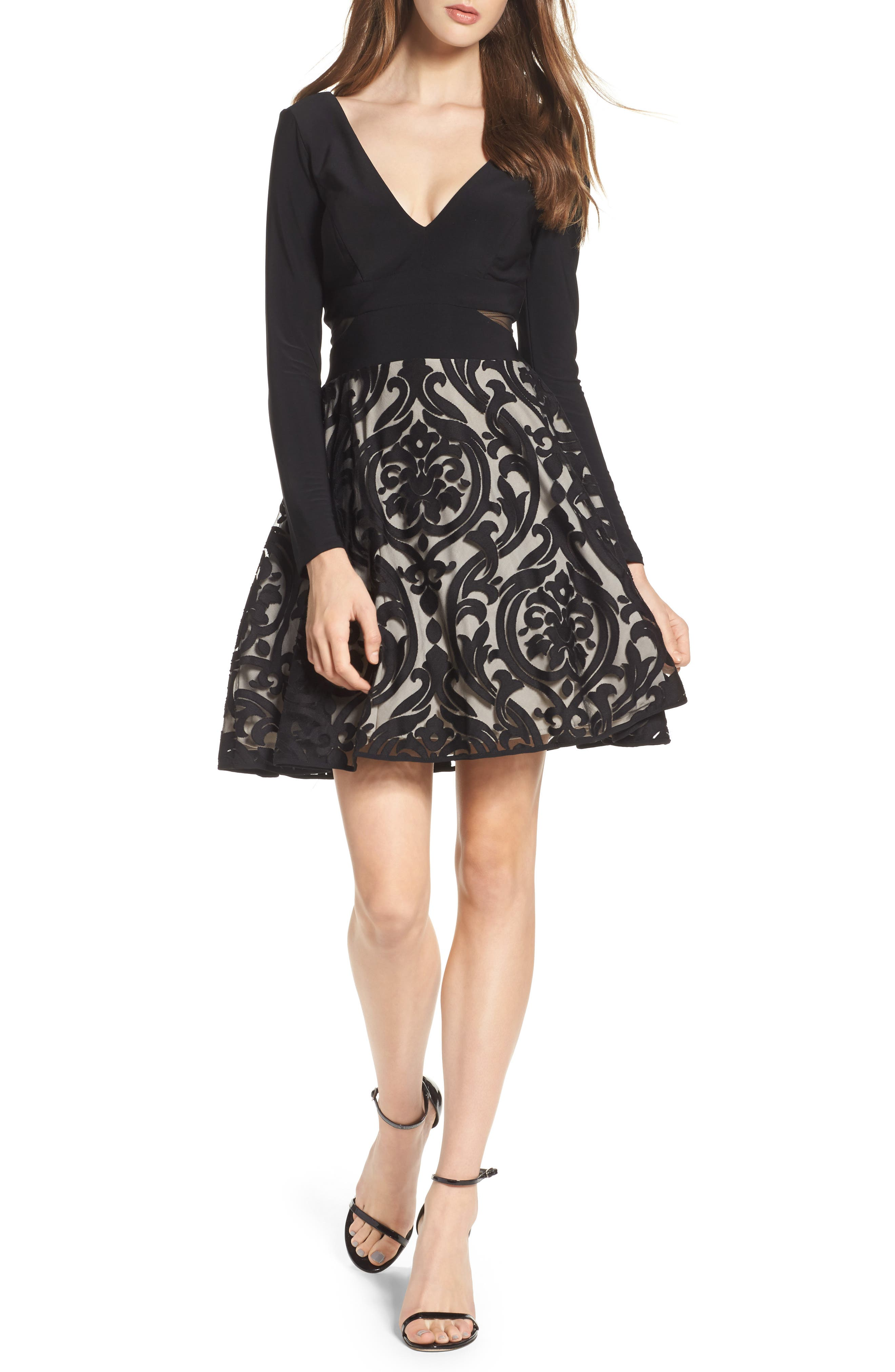 Embroidered Jersey Party Dress,                             Main thumbnail 1, color,                             BLACK/ STONE