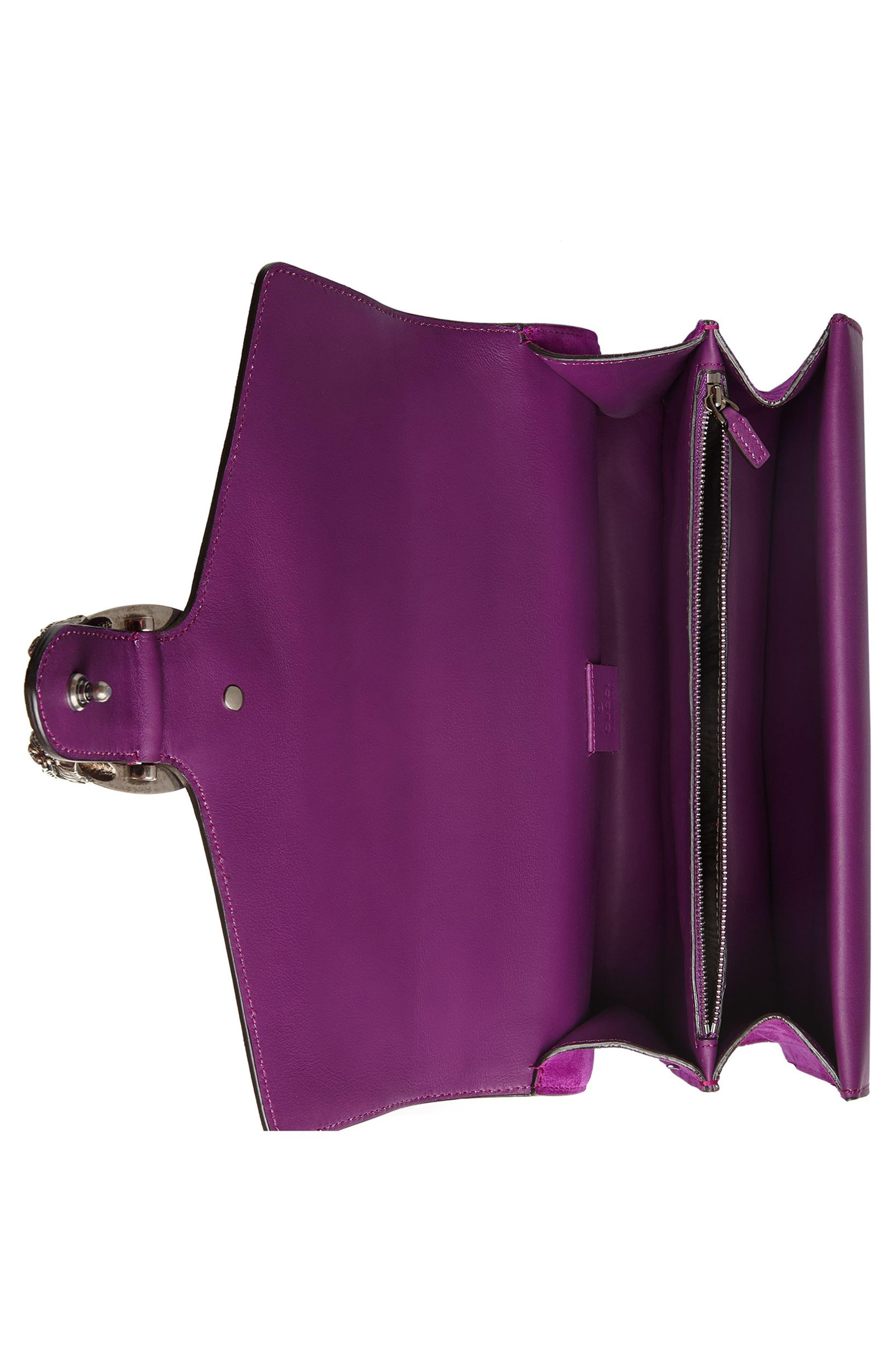 Dionysus Suede Shoulder Bag,                             Alternate thumbnail 3, color,                             PURPLE/MULTI