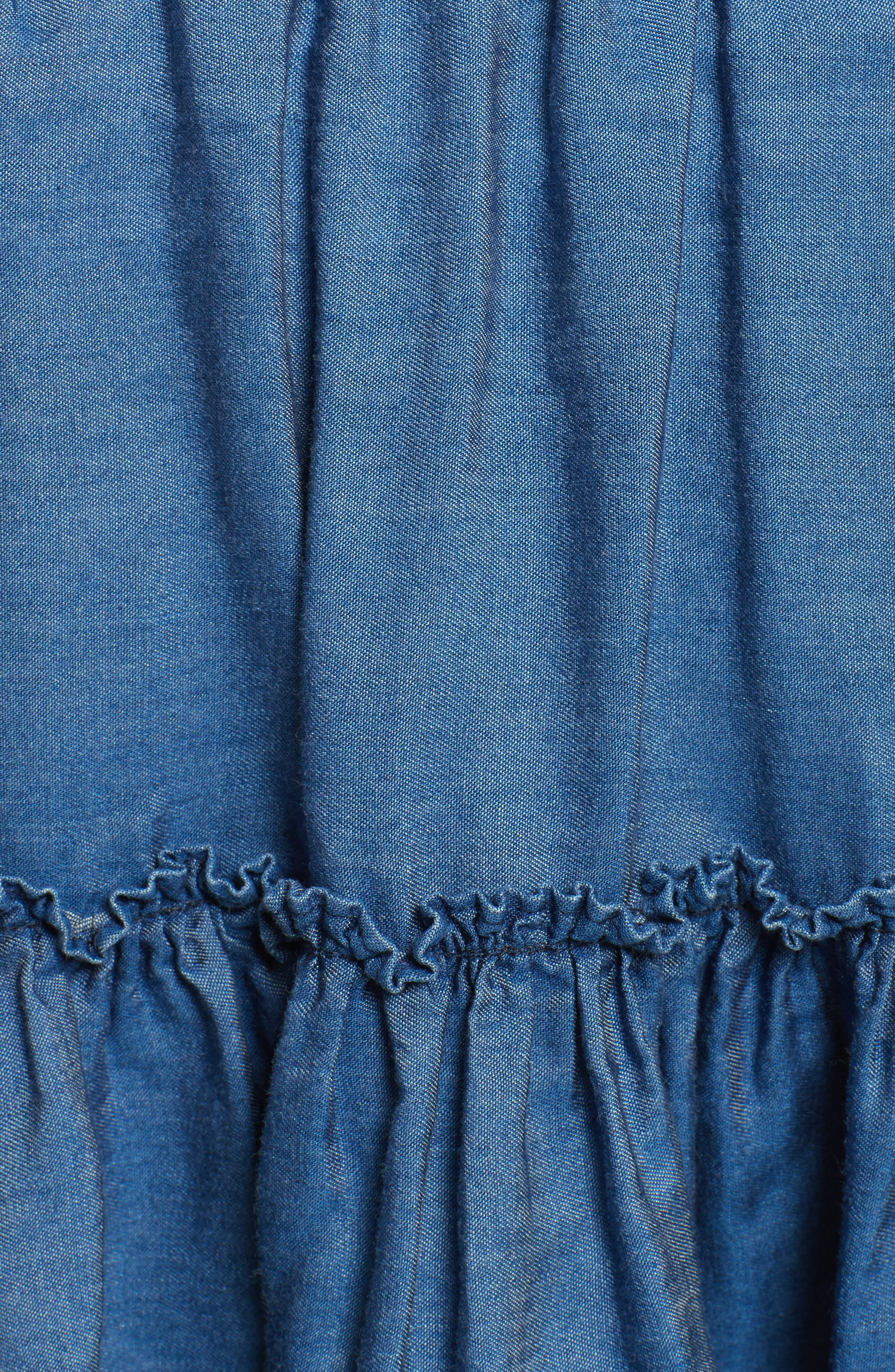 smocked waist chambray skirt,                             Alternate thumbnail 5, color,                             434