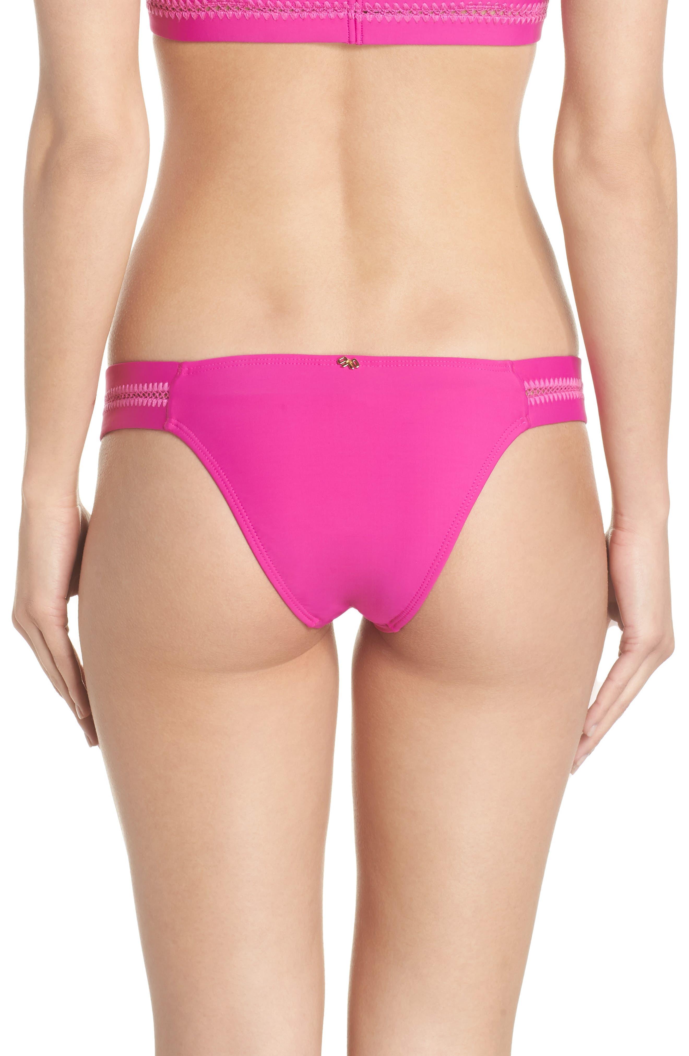 Teeny Stitched Bikini Bottoms,                             Alternate thumbnail 2, color,                             FUCHSIA