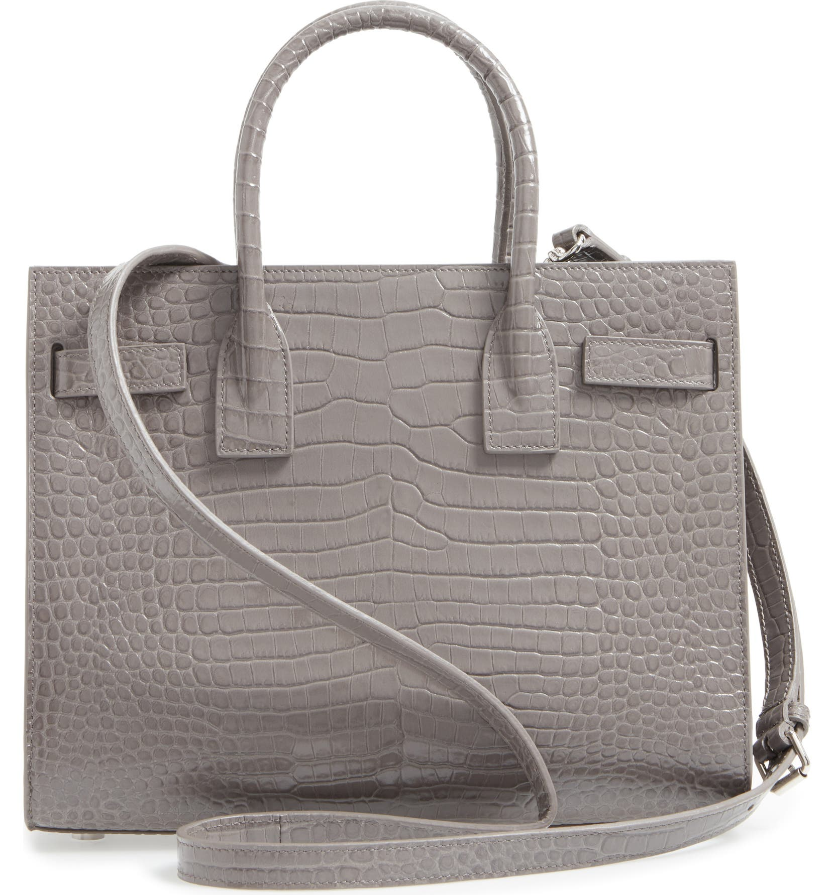 32095782edbb Saint Laurent Baby Sac de Jour Croc Embossed Calfskin Leather Tote ...