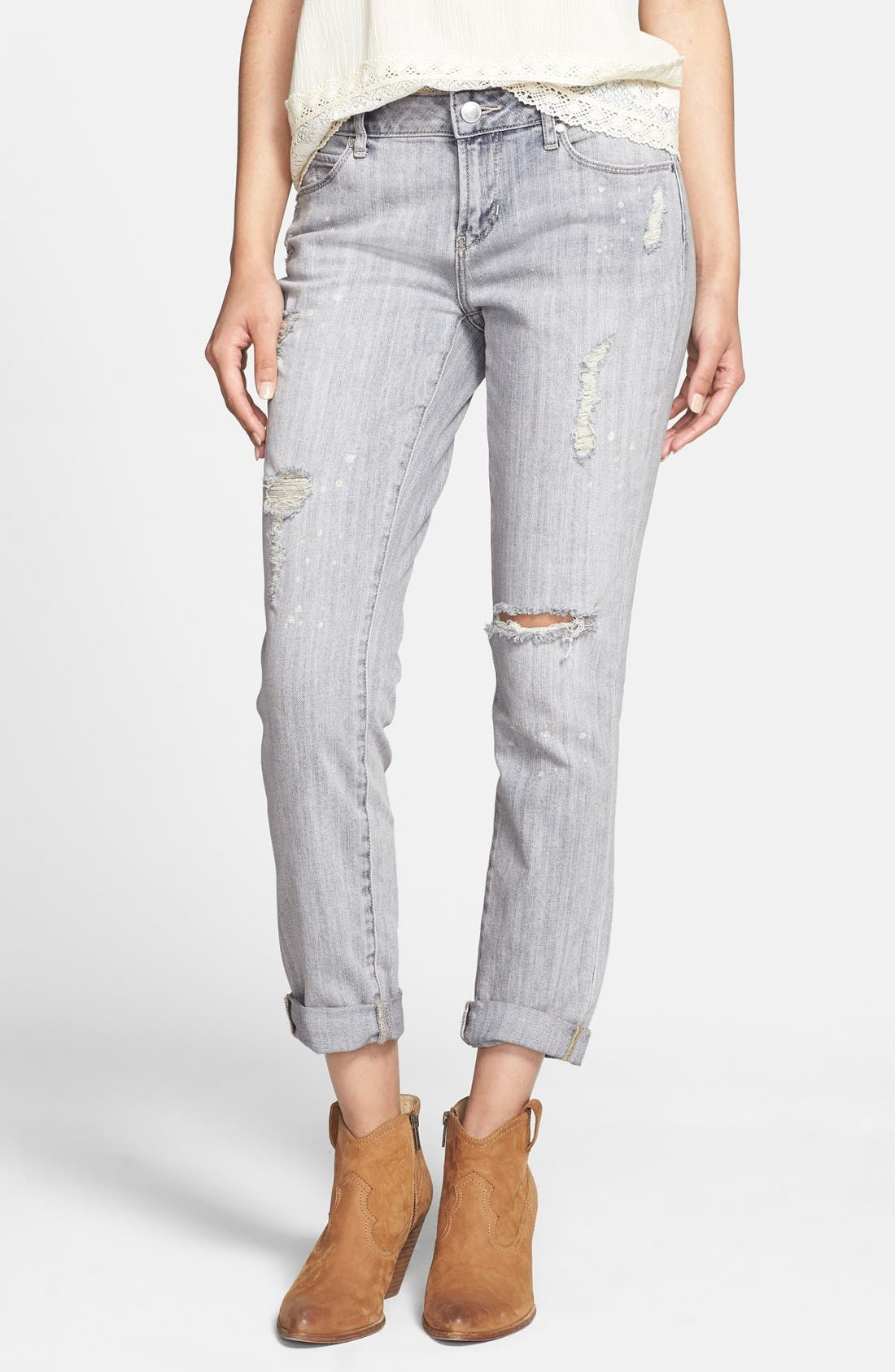 ARTICLES OF SOCIETY 'Cindy' Distressed Girlfriend Jeans, Main, color, 400