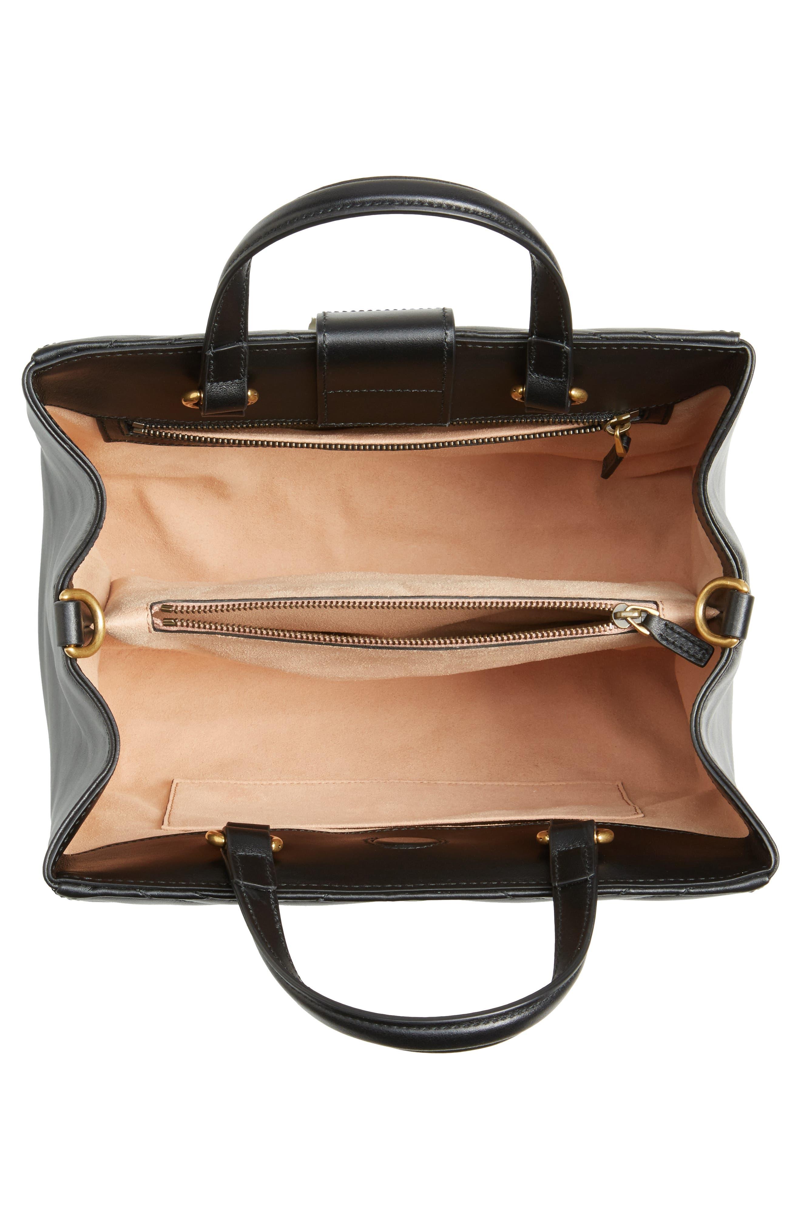 GG Small Marmont 2.0 Matelassé Leather Top Handle Satchel,                             Alternate thumbnail 4, color,                             NERO/ NERO