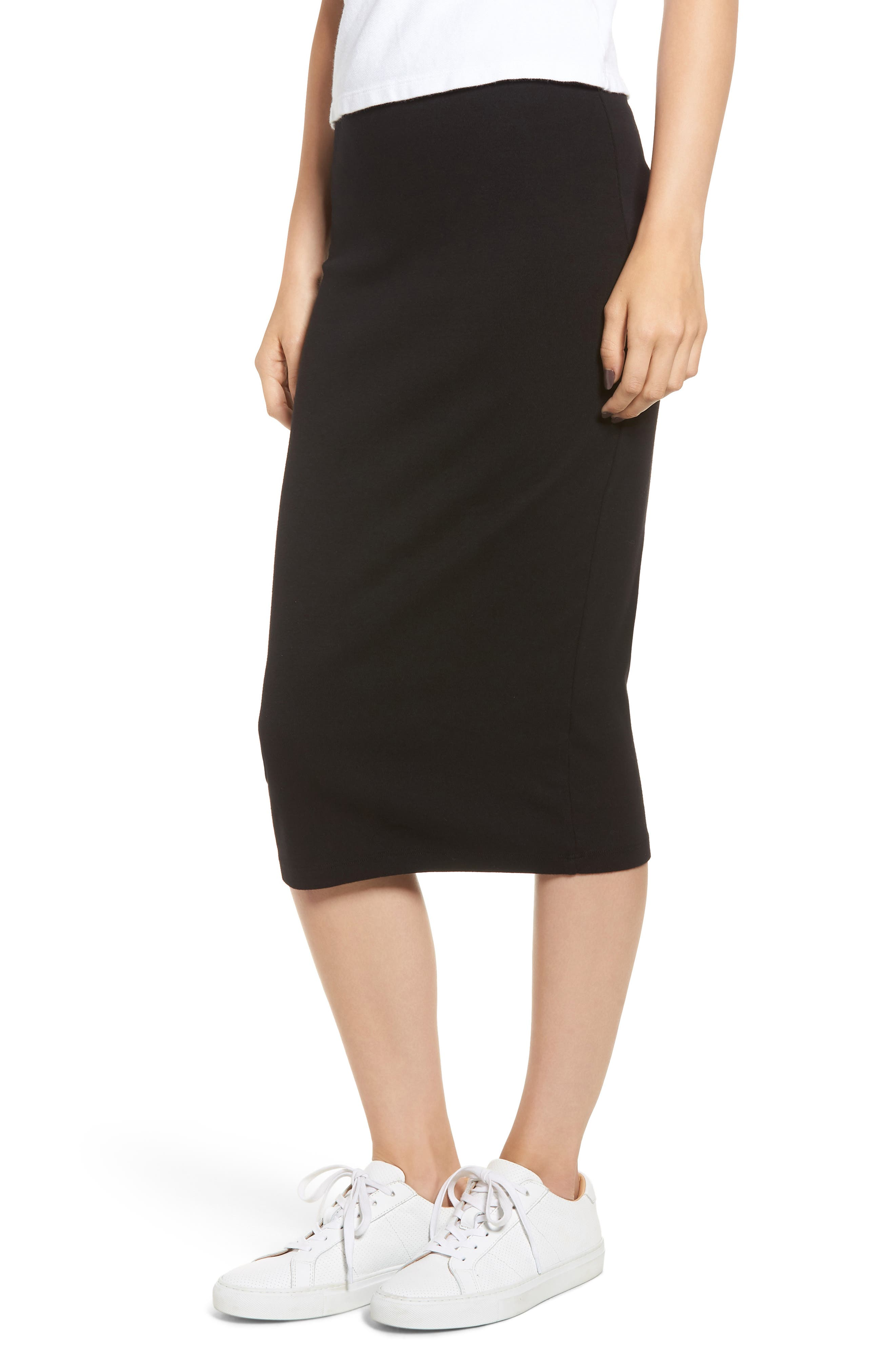 Stretch Cotton Midi Skirt,                             Main thumbnail 1, color,                             001