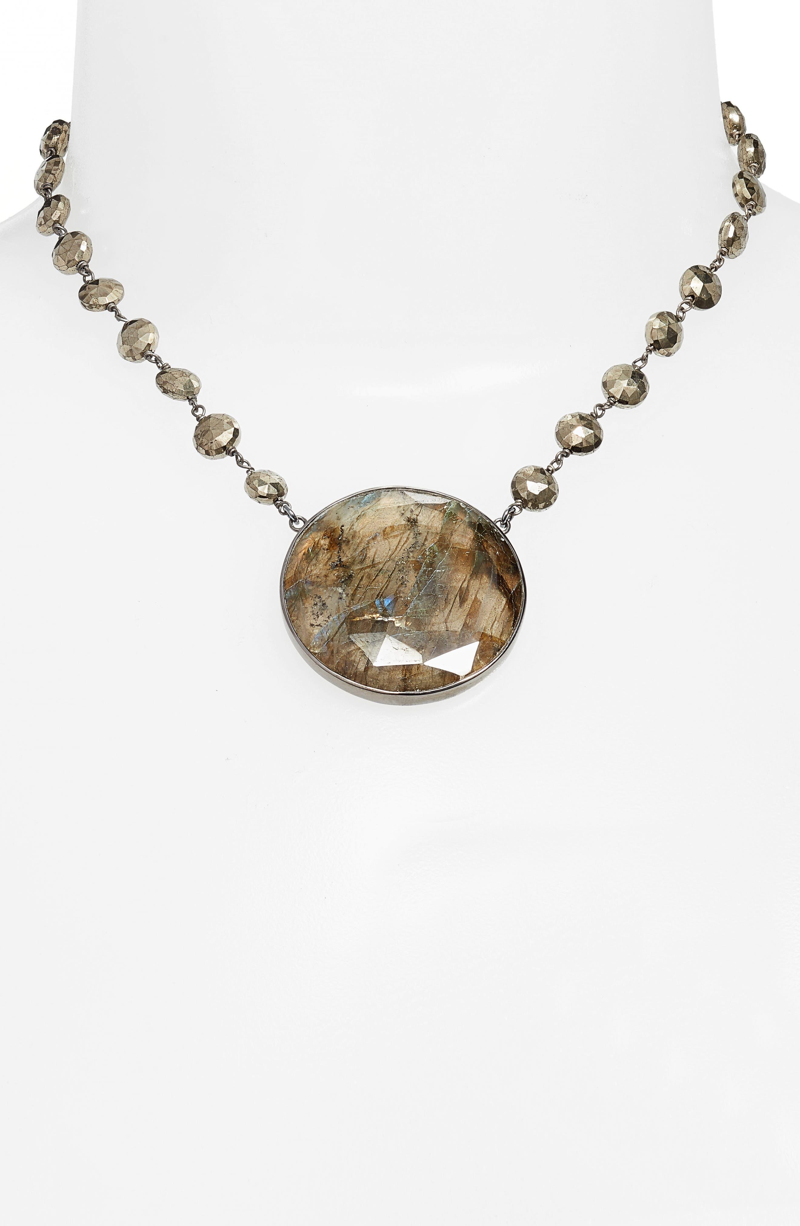 Morah Semiprecious Stone Necklace,                             Alternate thumbnail 2, color,                             PYRITE/ LABRADORITE