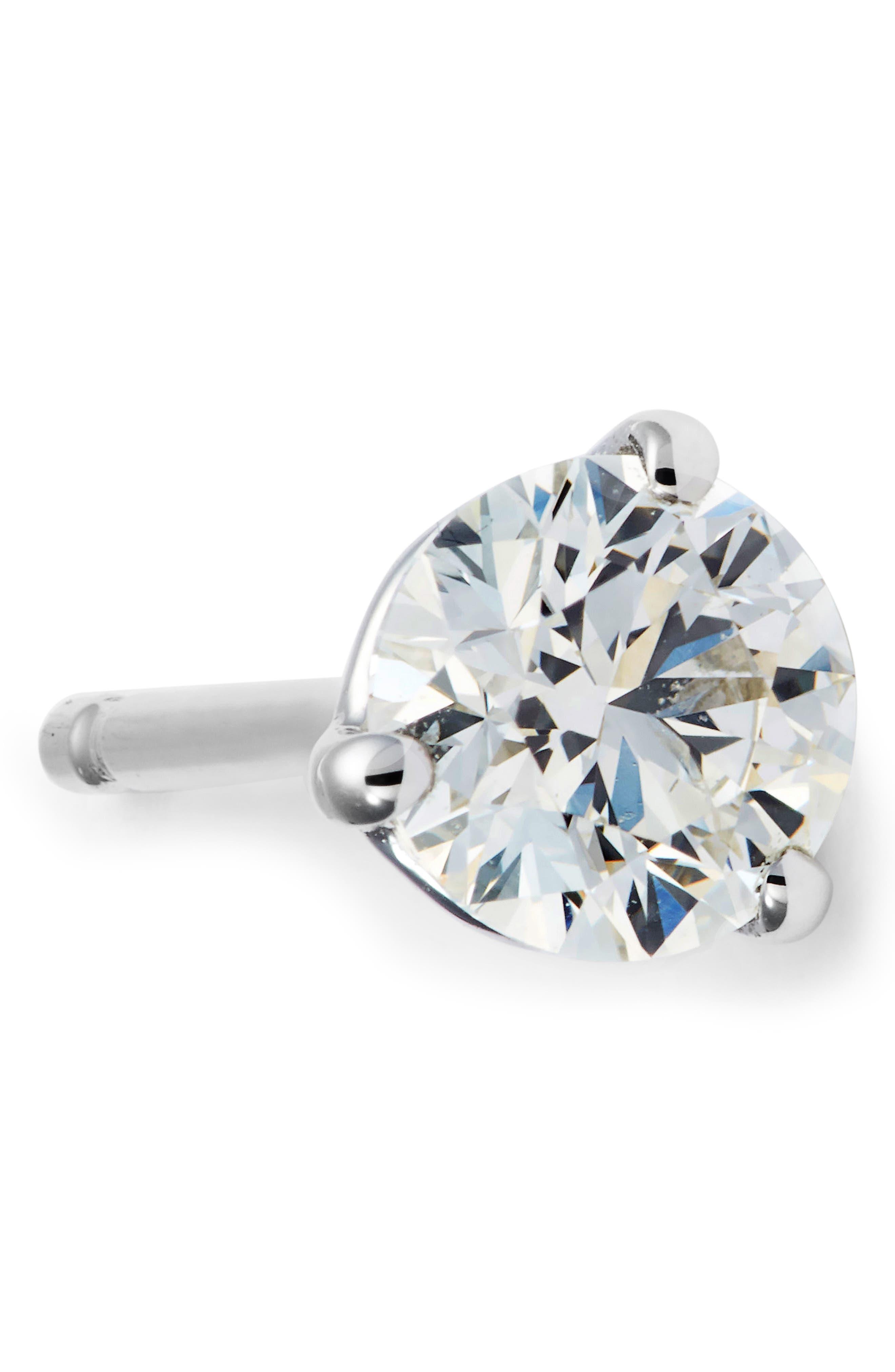 Single Diamond Stud Earring,                             Alternate thumbnail 7, color,                             WHITE GOLD