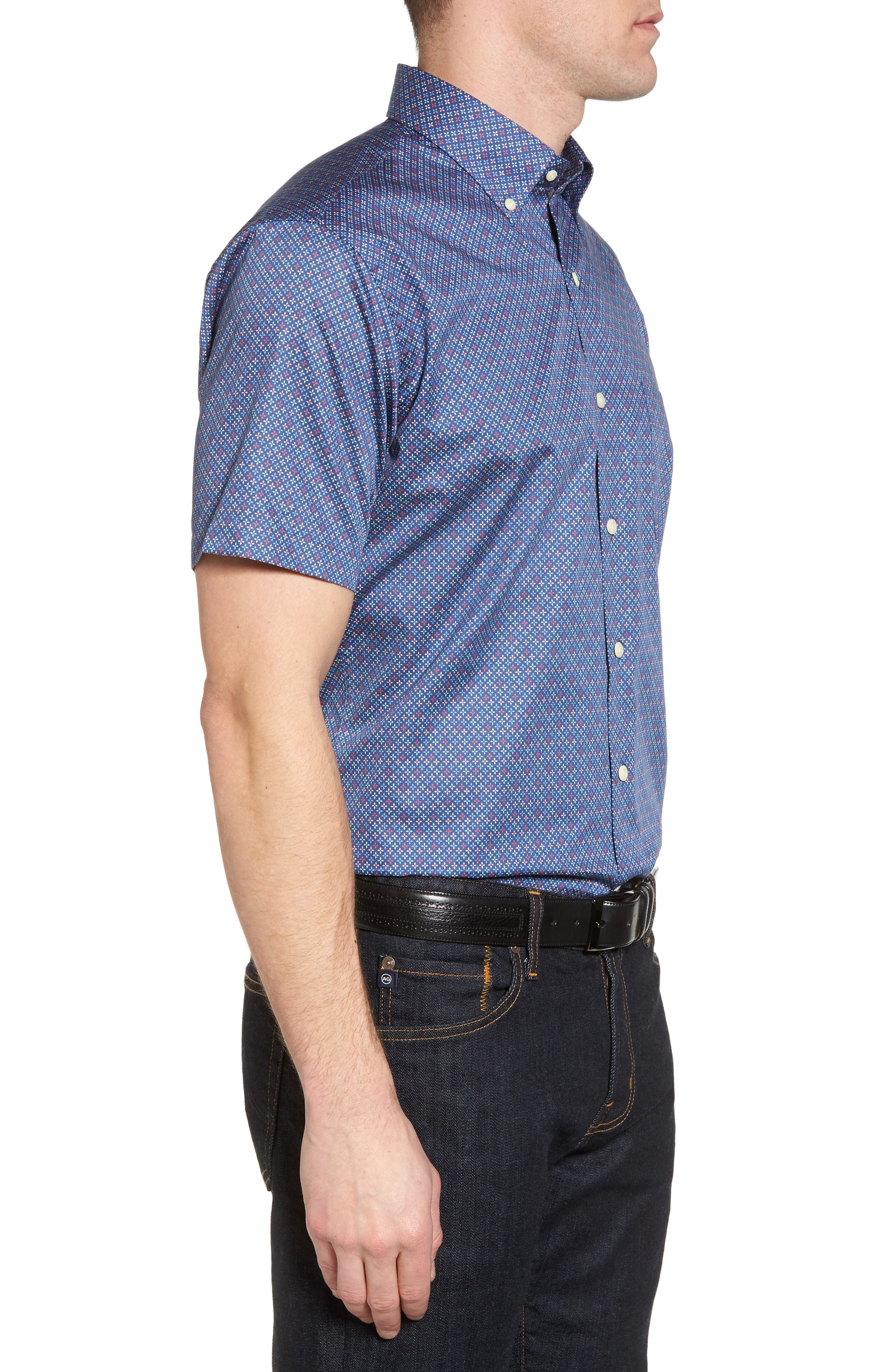 All Aces Regular Fit Sport Shirt,                             Alternate thumbnail 3, color,                             YANKEE BLUE