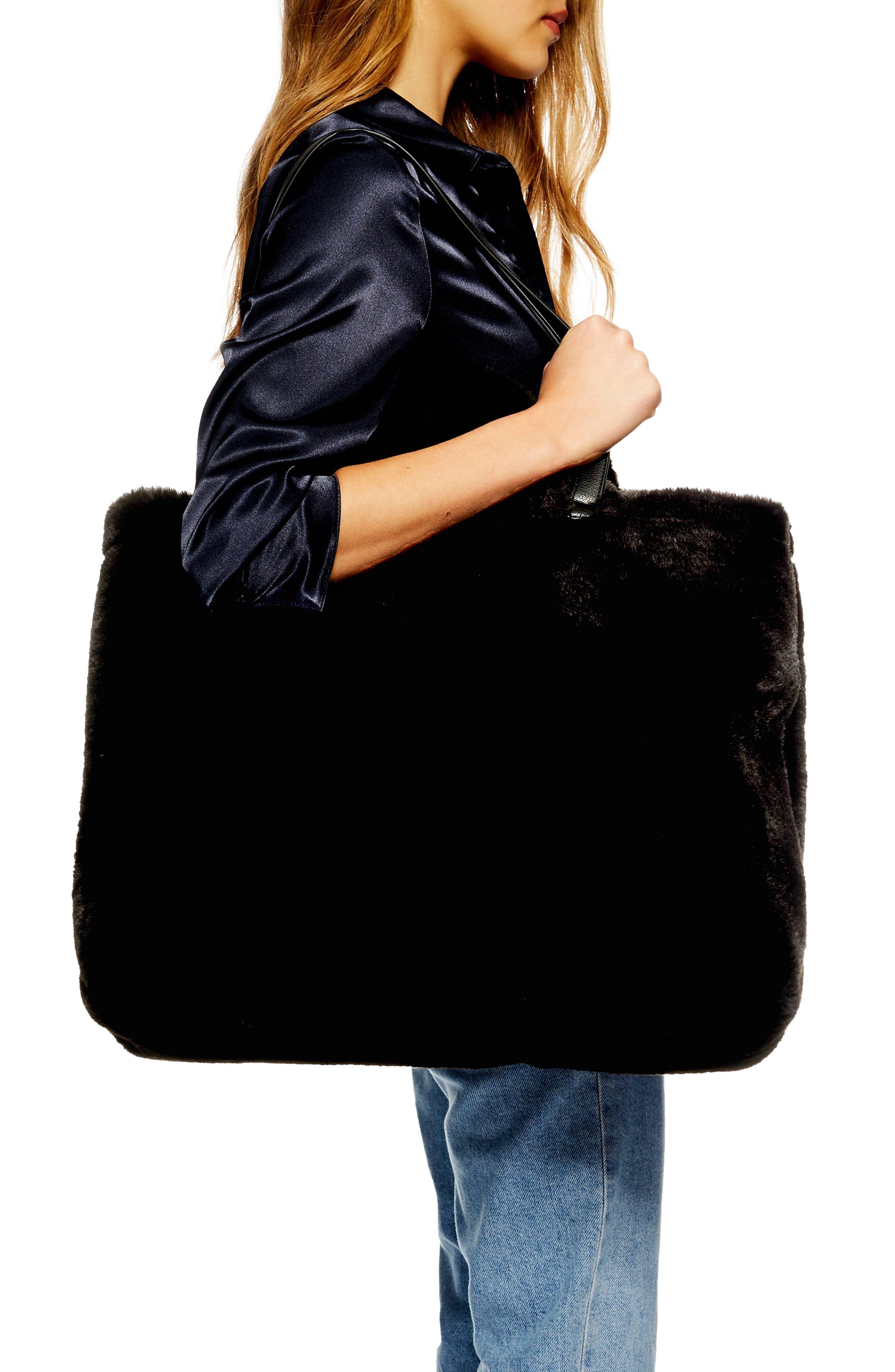 Finley Reversible Faux Fur Tote Bag,                             Alternate thumbnail 2, color,                             BLACK