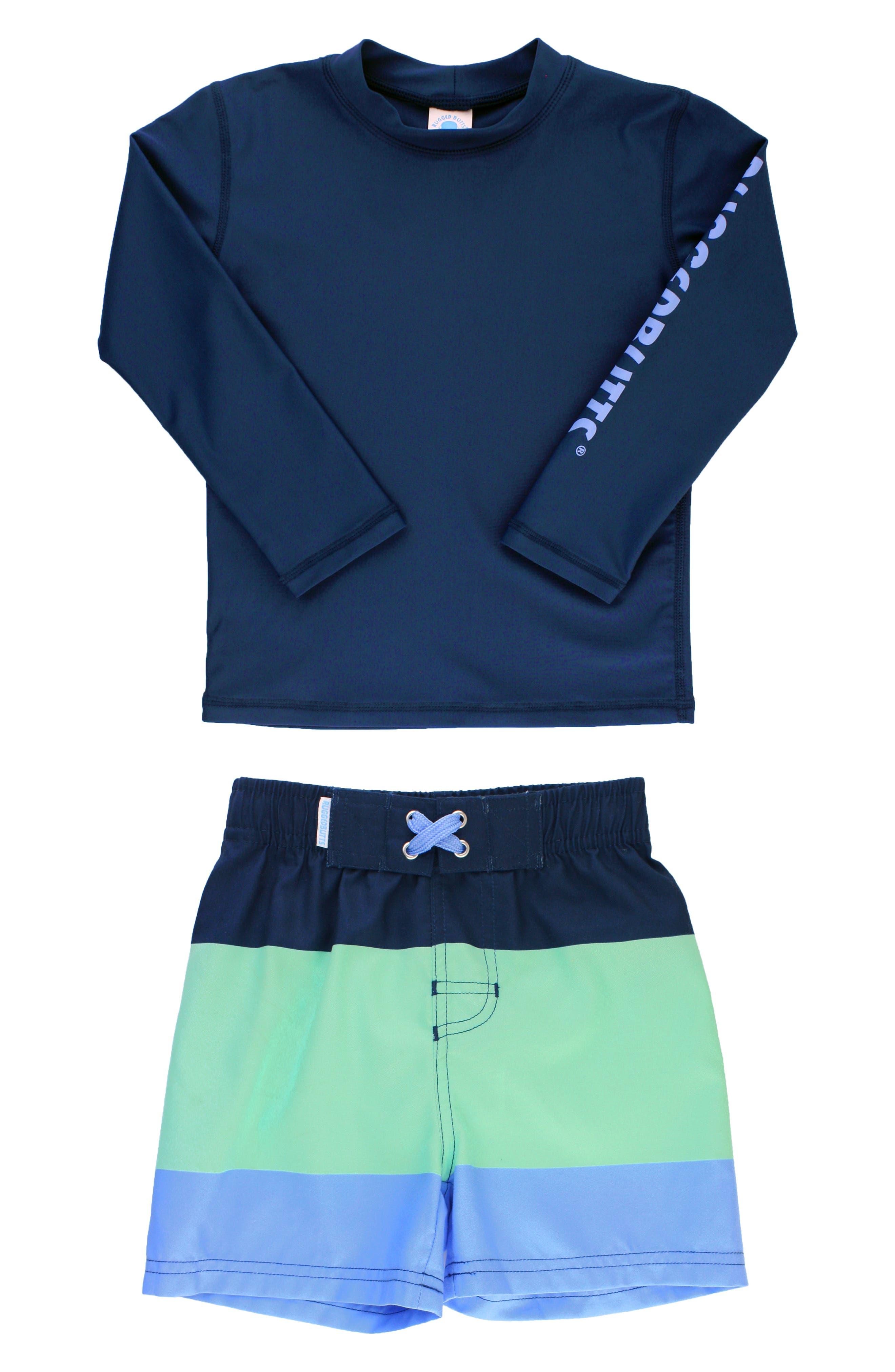Infant Boys Ruggedbutts Logo TwoPiece Rashguard Swimsuit Size 1218M  Blue