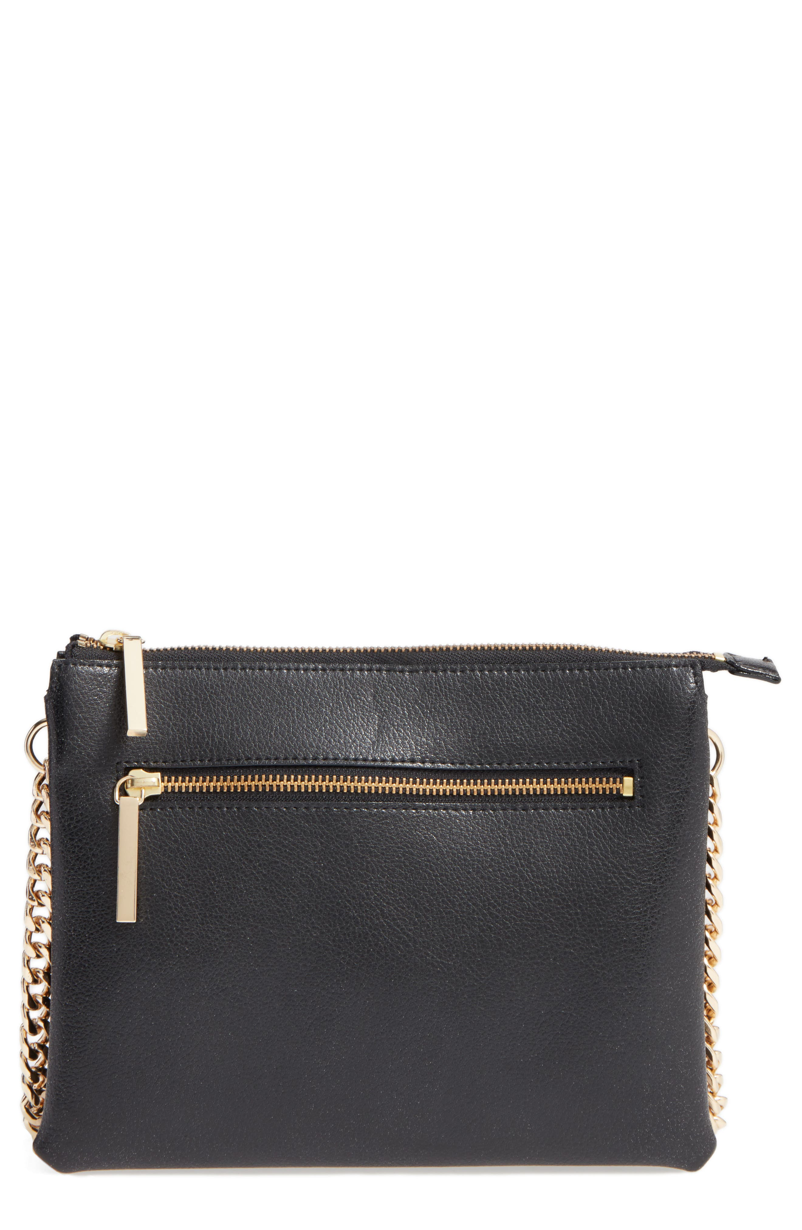 Leather Crossbody Bag, Main, color, 001