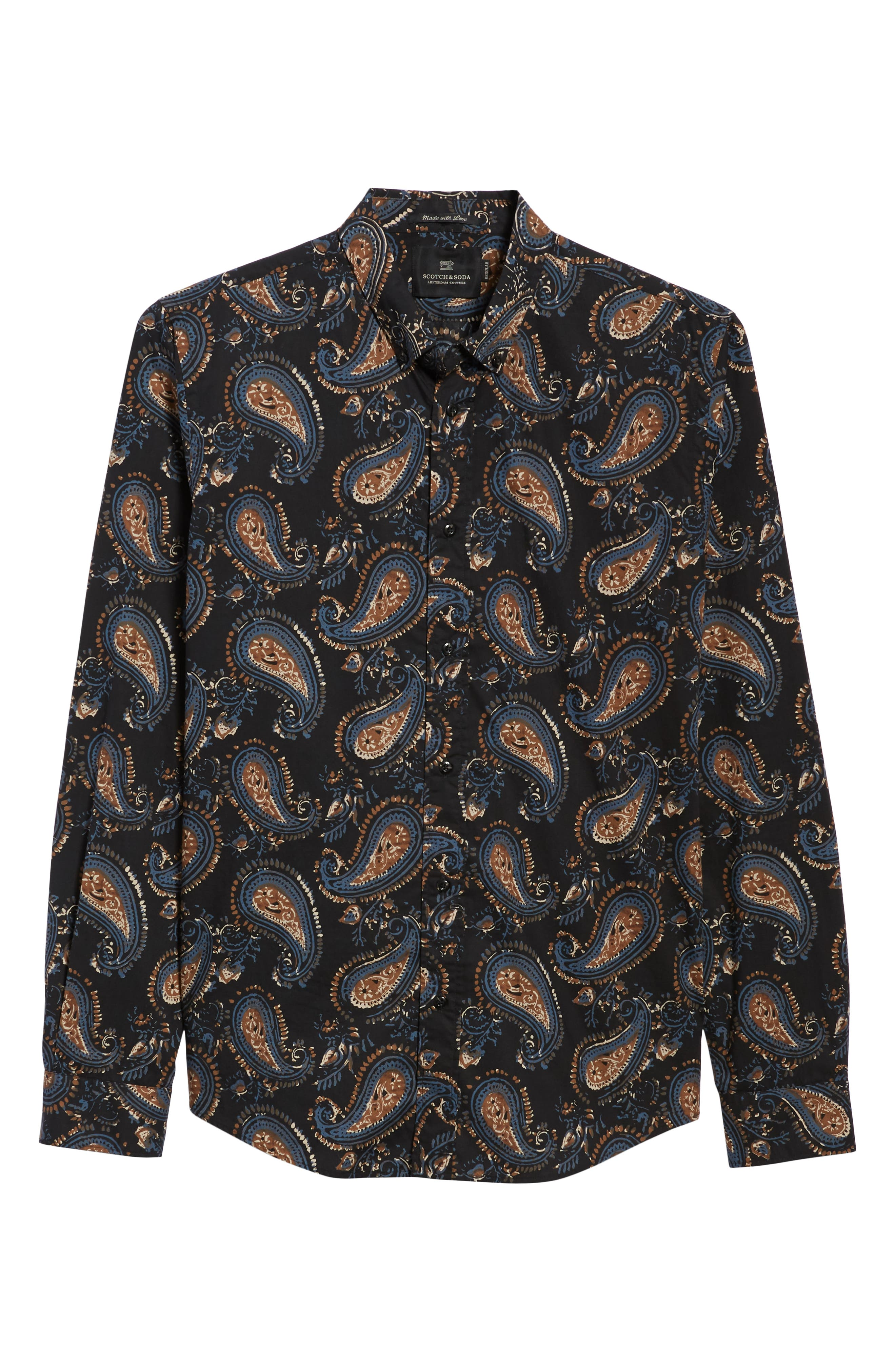 Regular Fit Paisley Sport Shirt,                             Alternate thumbnail 5, color,                             001