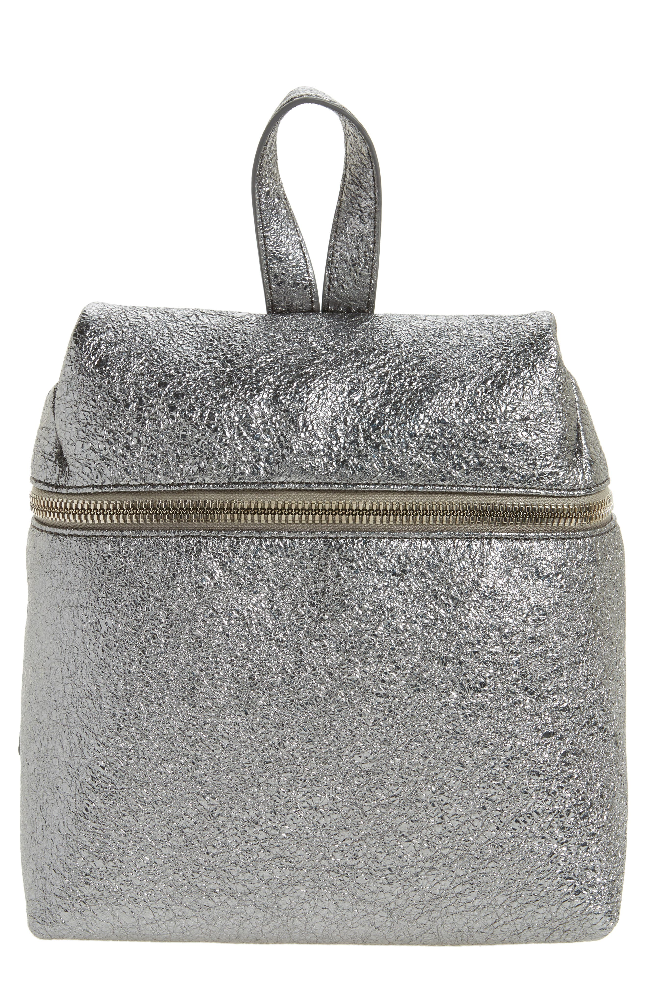 Small Crinkled Metallic Leather Backpack,                         Main,                         color,