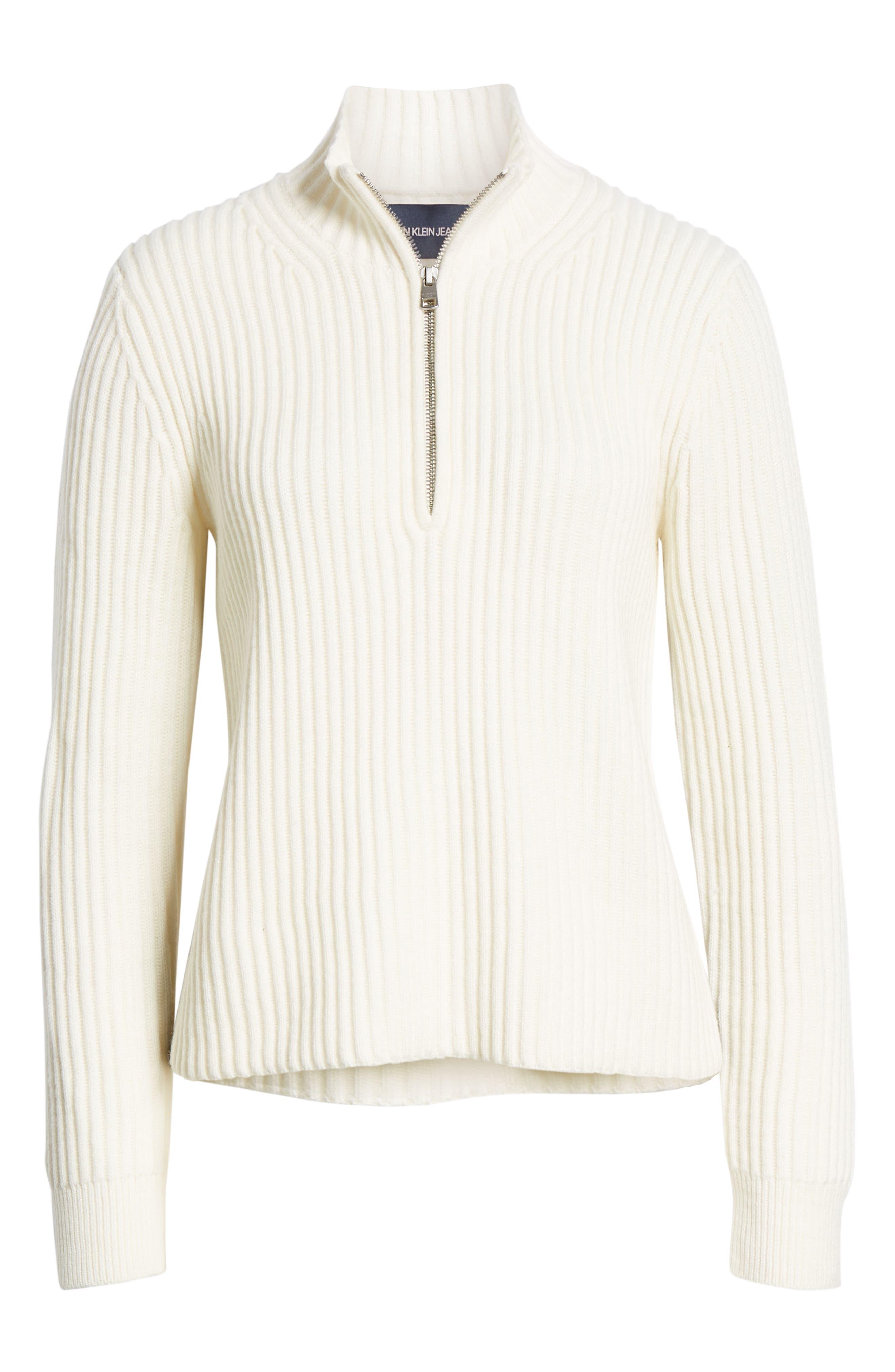 Half Zip Wool Blend Sweater,                             Alternate thumbnail 6, color,                             GREY