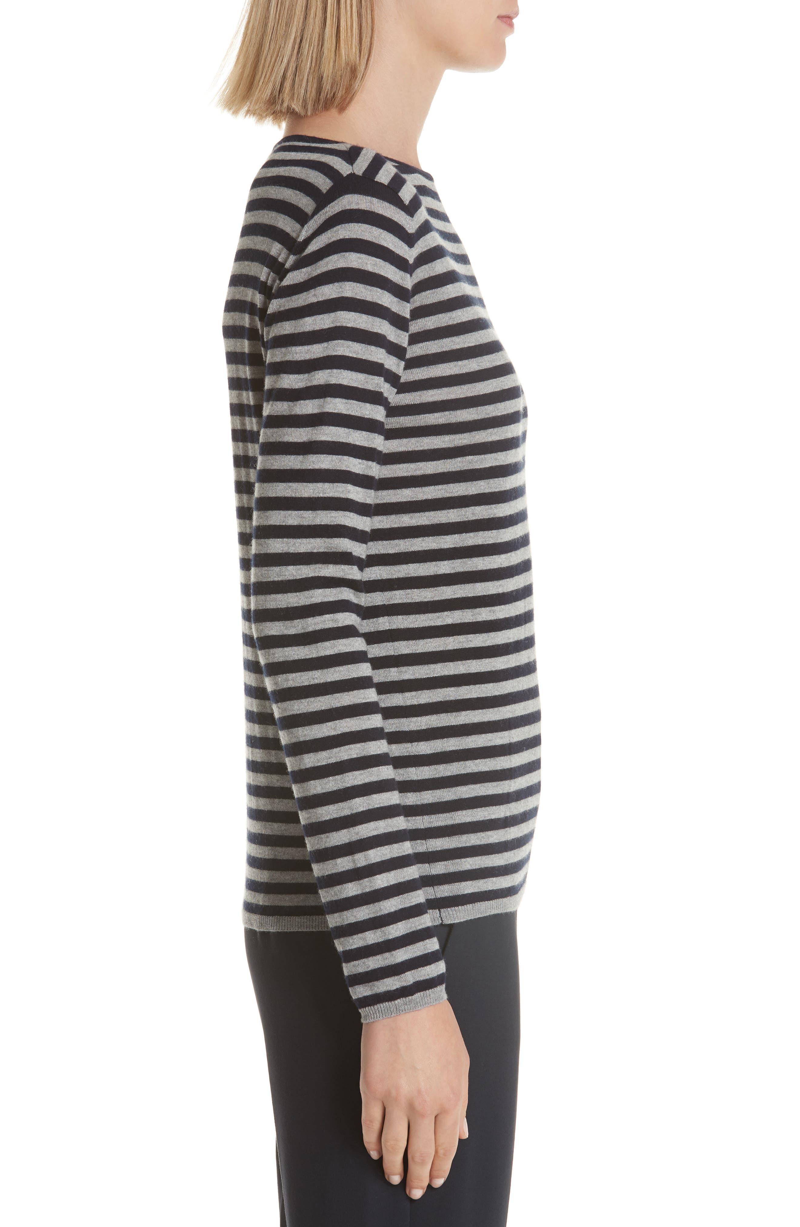 MAX MARA,                             Nardo Stripe Silk & Cashmere Sweater,                             Alternate thumbnail 3, color,                             LIGHT GREY