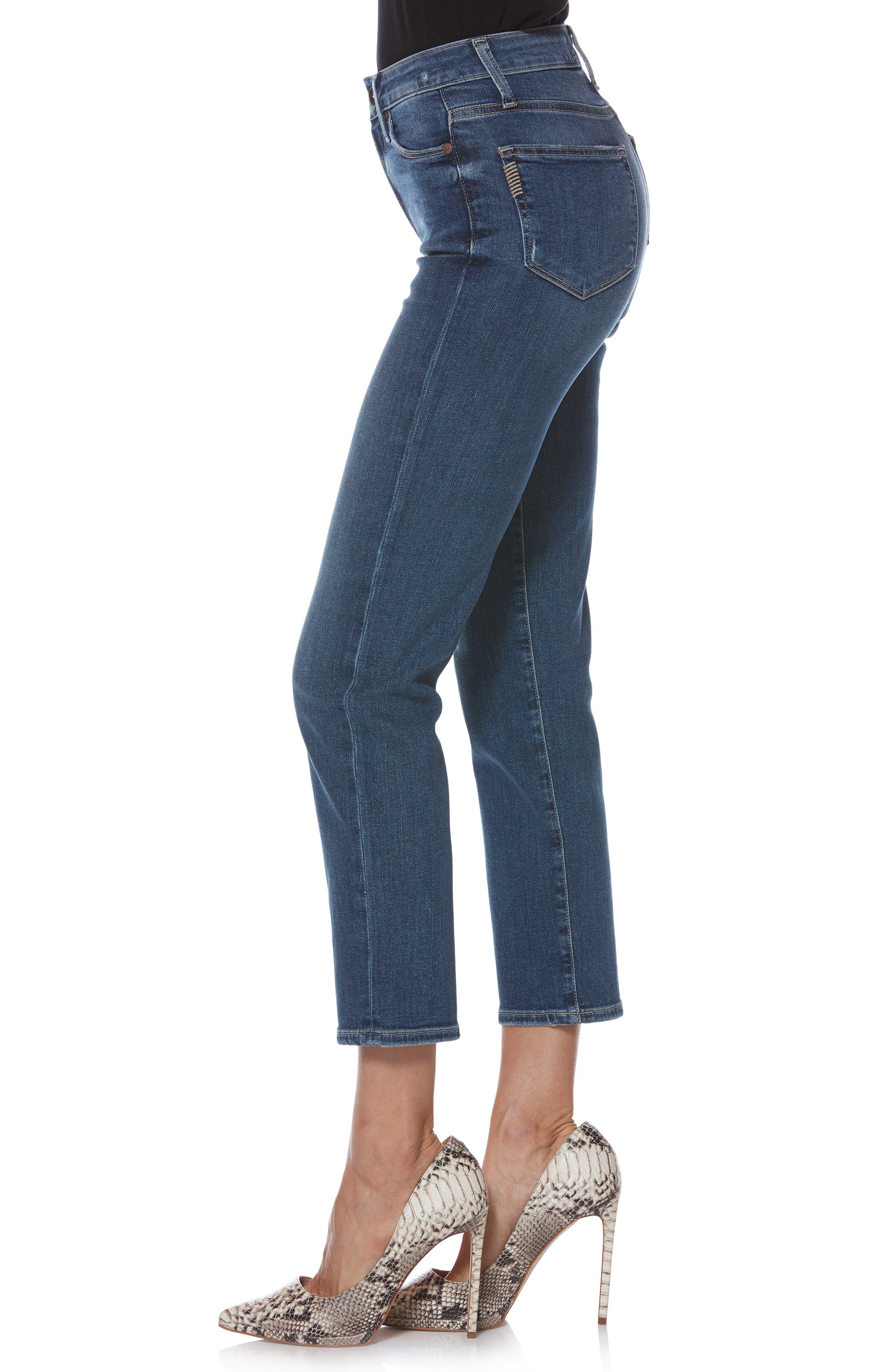 Transcend Vintage - Margot High Waist Ankle Straight Leg Jeans,                             Alternate thumbnail 3, color,                             HANNIE