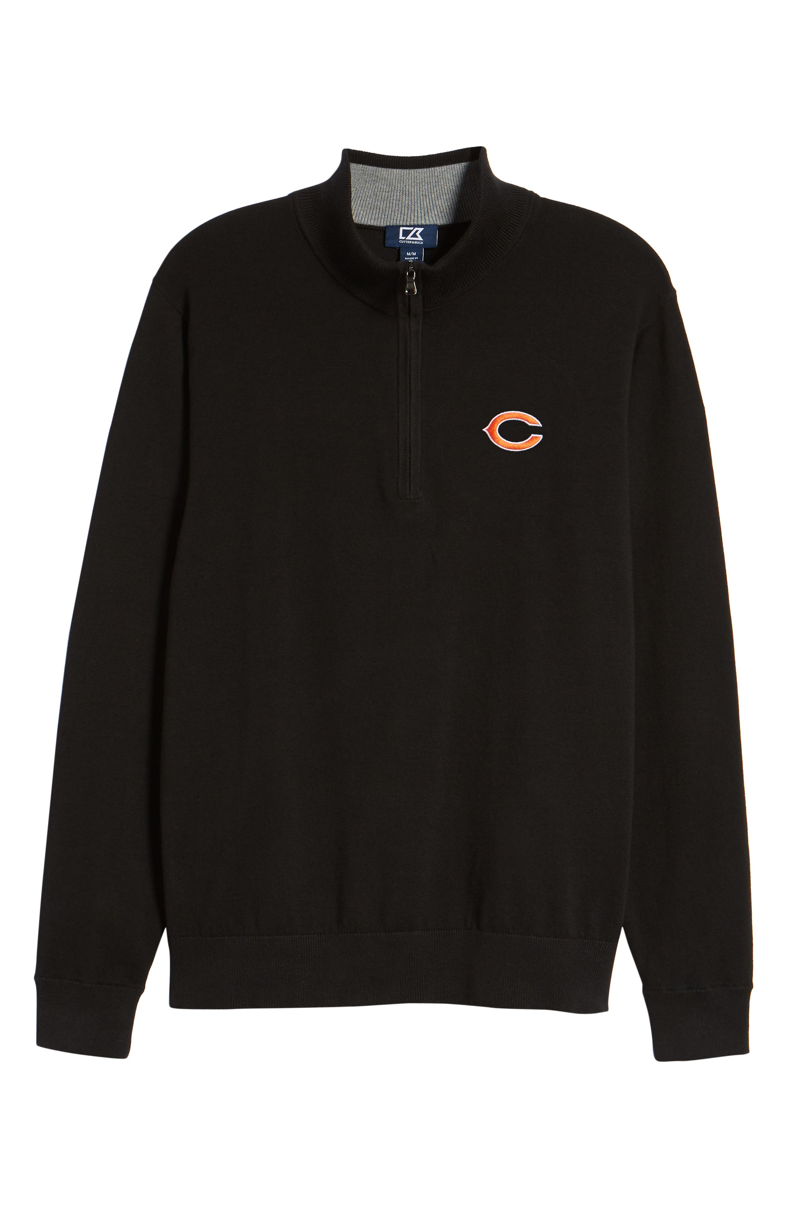 Chicago Bears - Lakemont Regular Fit Quarter Zip Sweater,                             Alternate thumbnail 6, color,                             BLACK