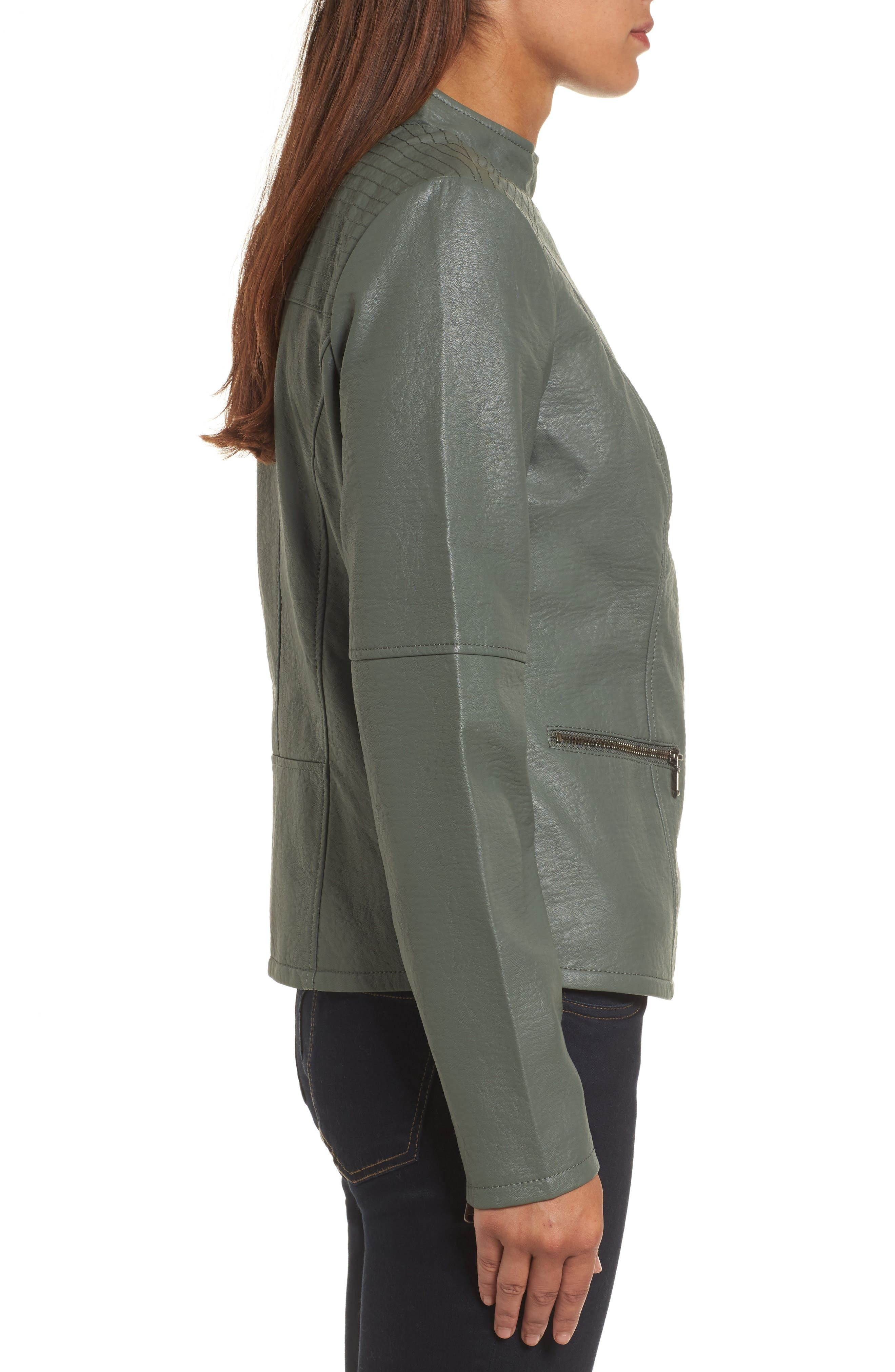 City Chic Faux Leather Jacket,                             Alternate thumbnail 3, color,                             374