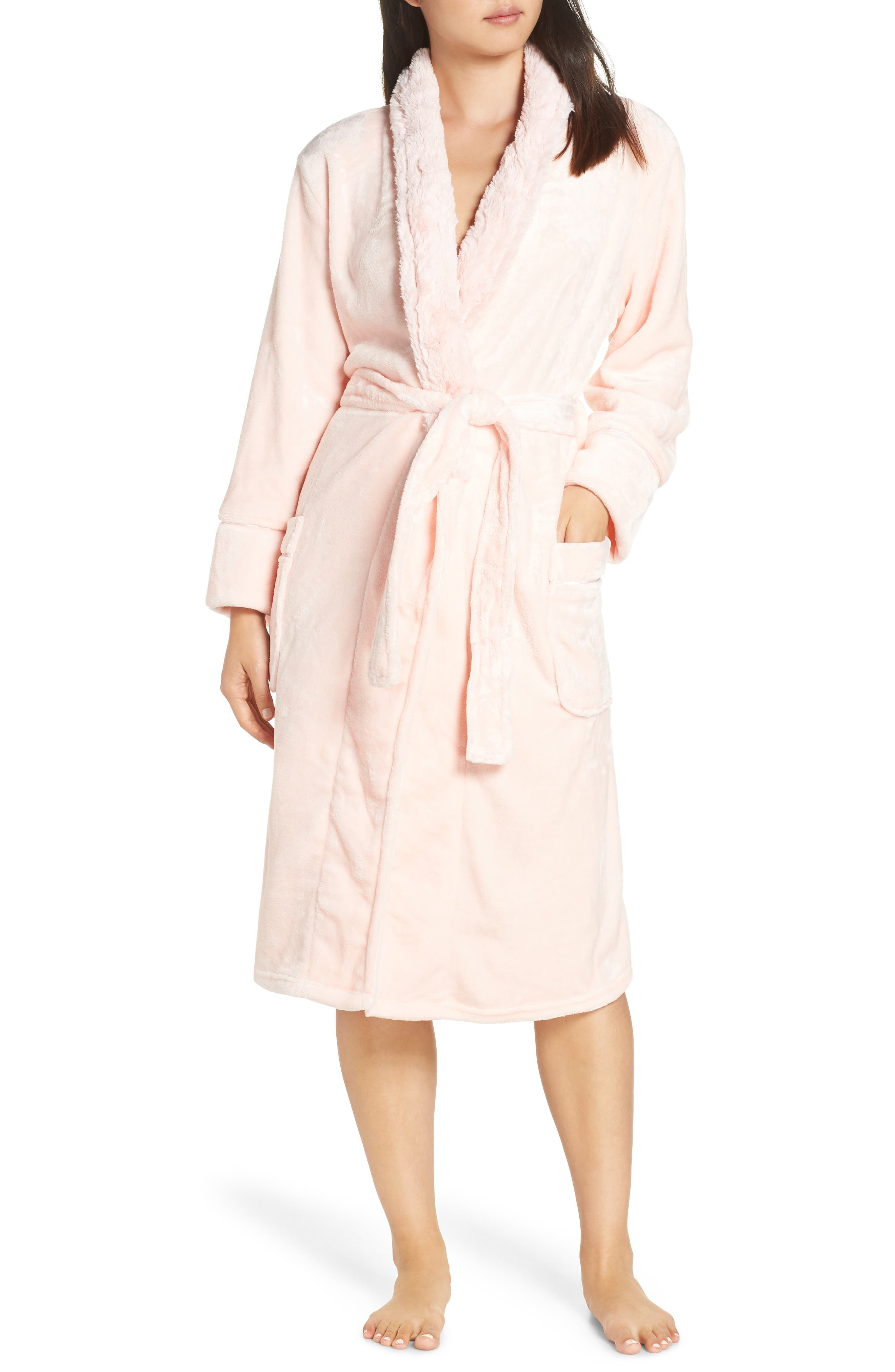 PJ SALVAGE Luxe Faux Fur Robe in Blush