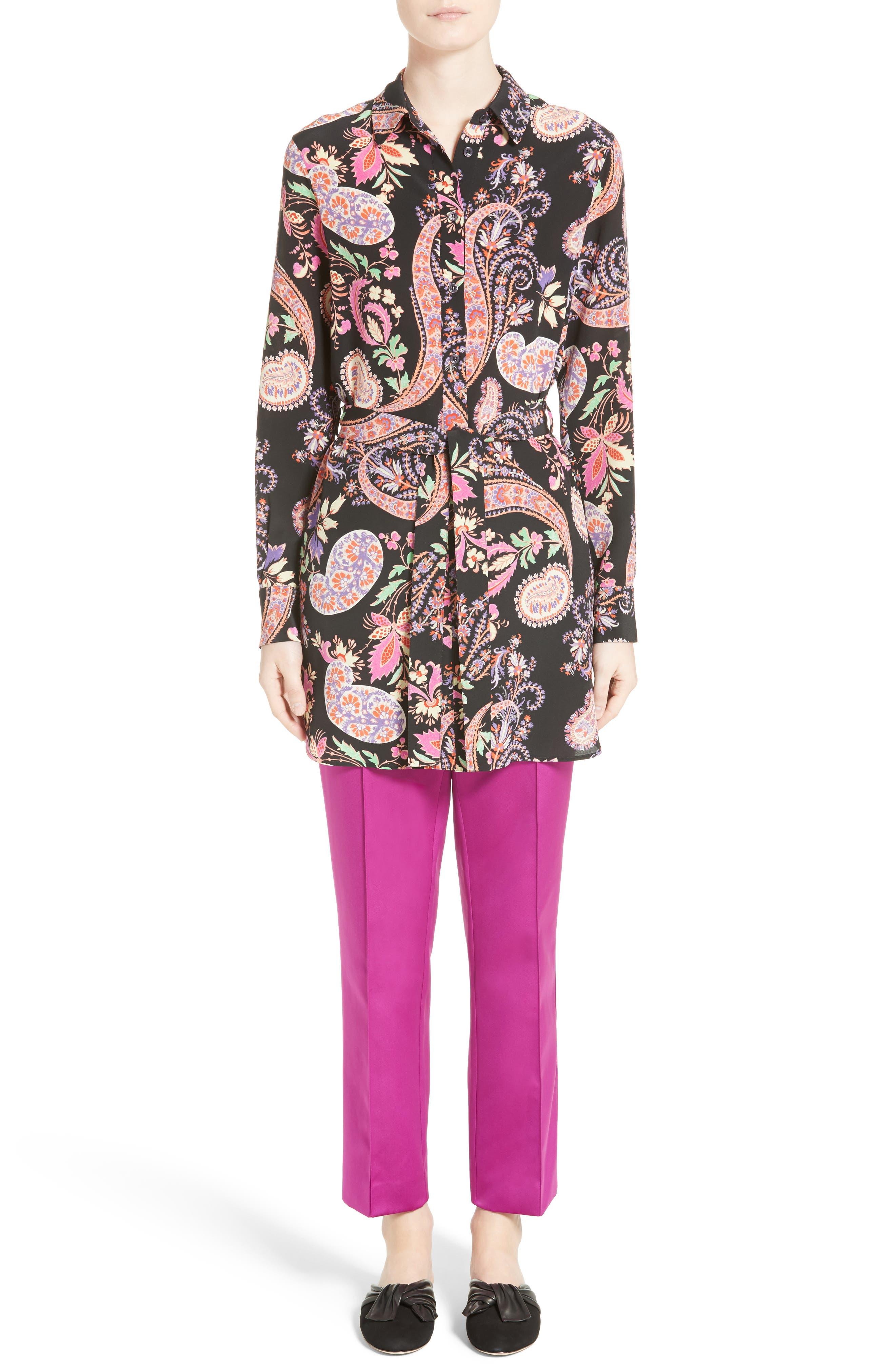 Floral Paisley Print Silk Tunic,                             Alternate thumbnail 6, color,                             001