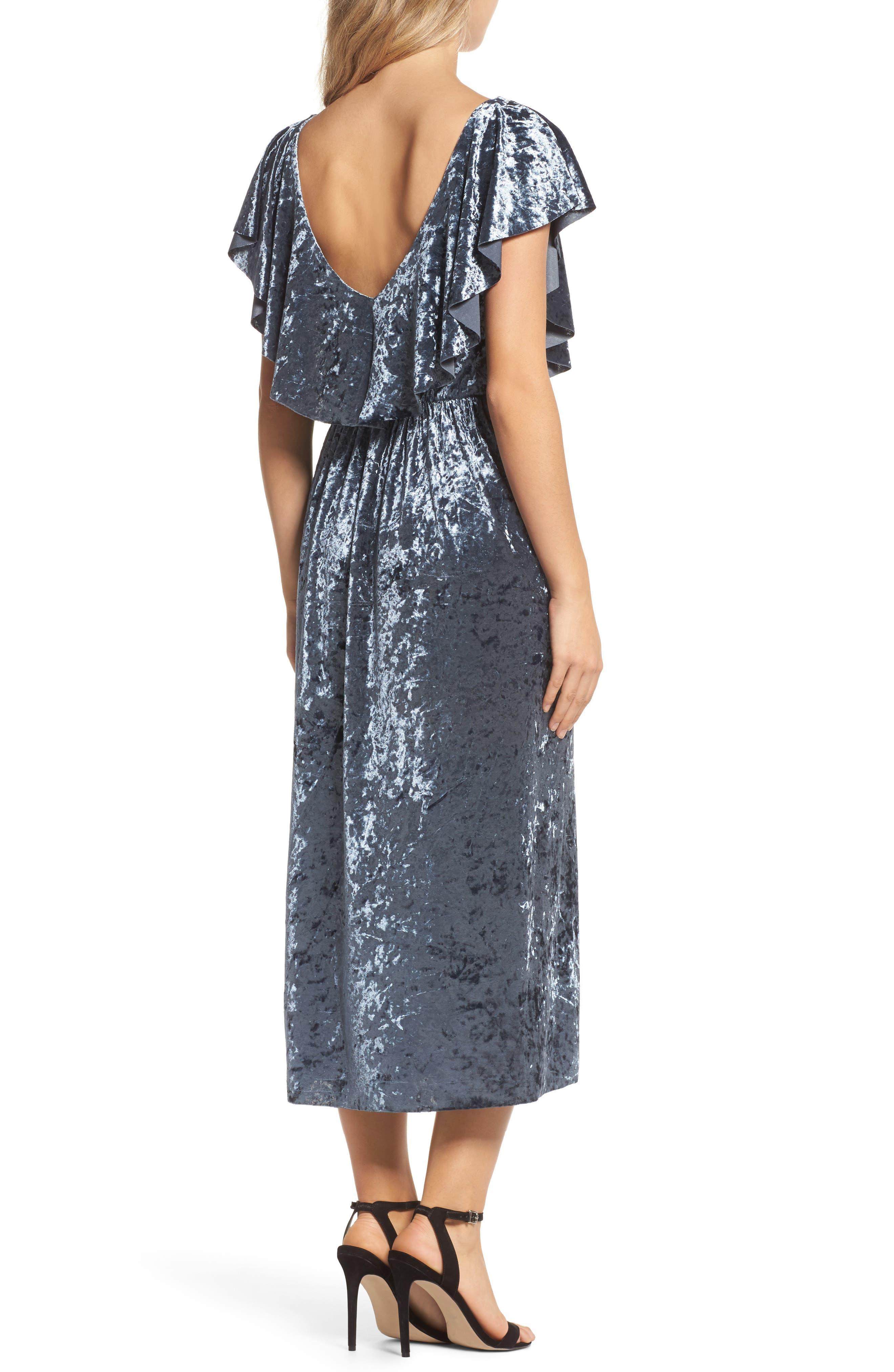 Crushed Velvet Midi Dress,                             Alternate thumbnail 2, color,                             405