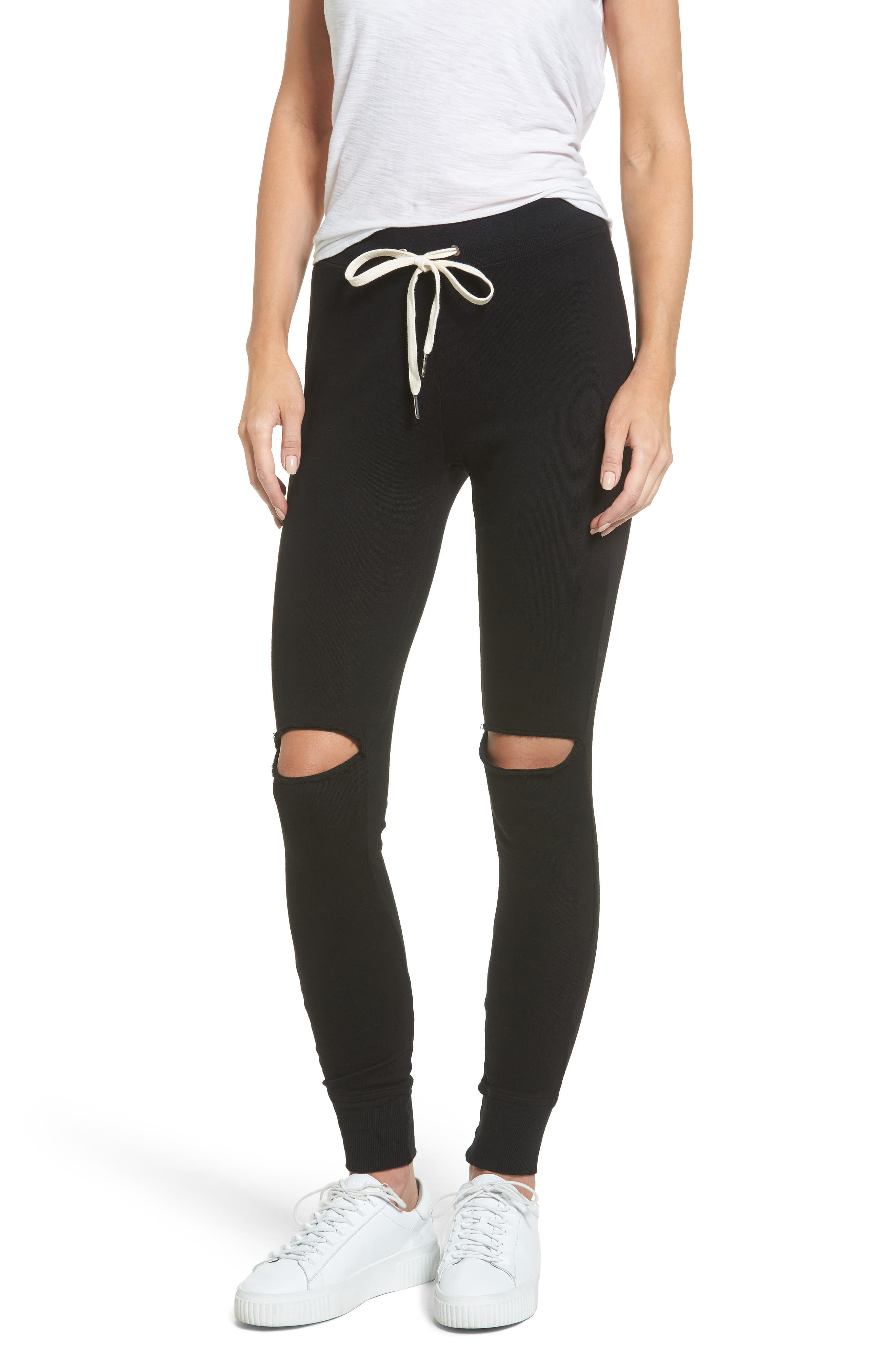Ruthie Shredded Jogger Pants,                         Main,                         color, BLACK CAT
