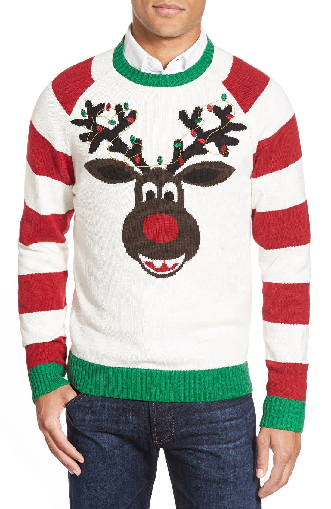'Reindeer Stripe' Holiday Crewneck Sweater,                             Main thumbnail 1, color,                             100