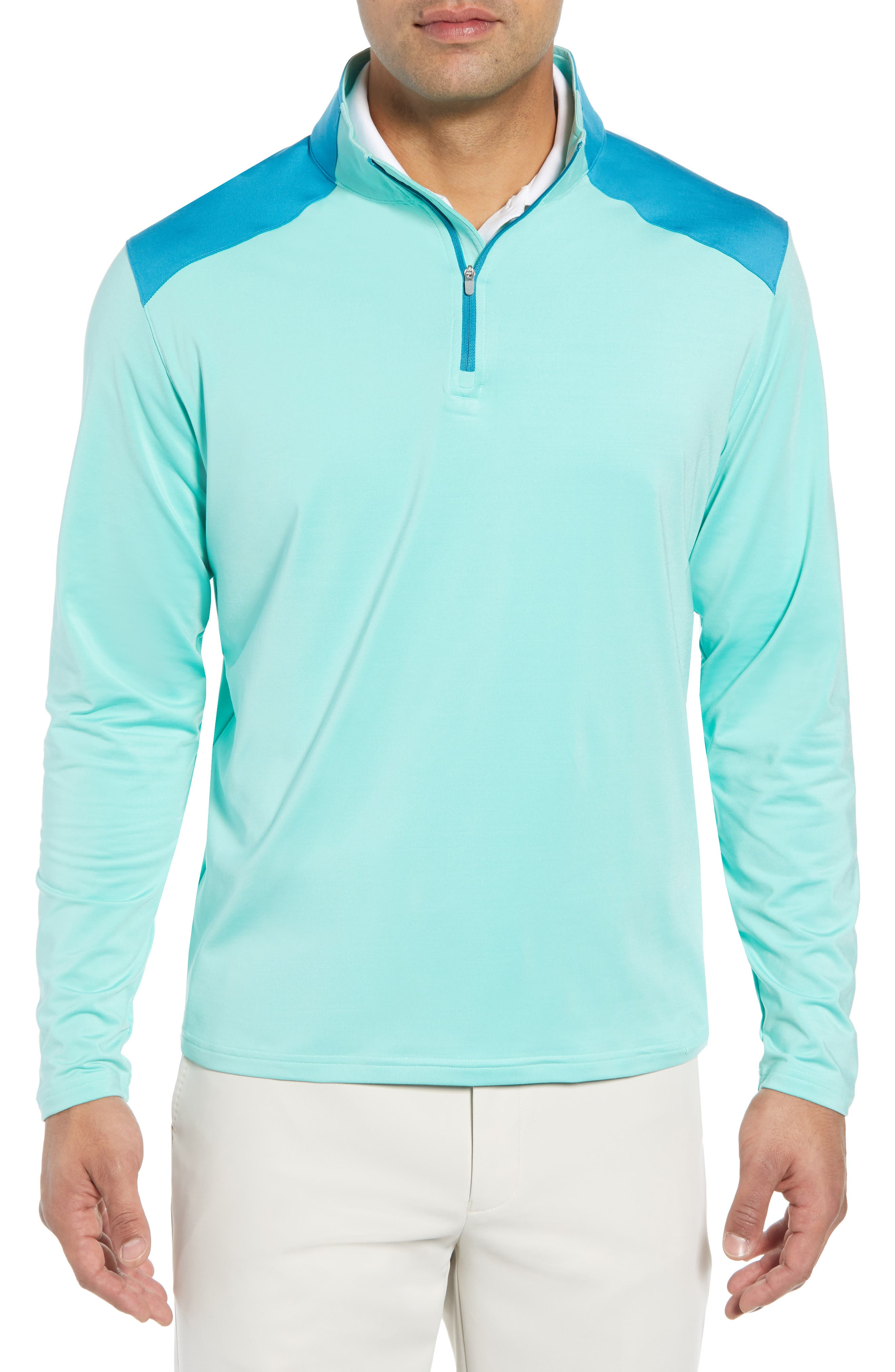 Quarter Zip Performance Pullover,                             Main thumbnail 1, color,                             TEAL