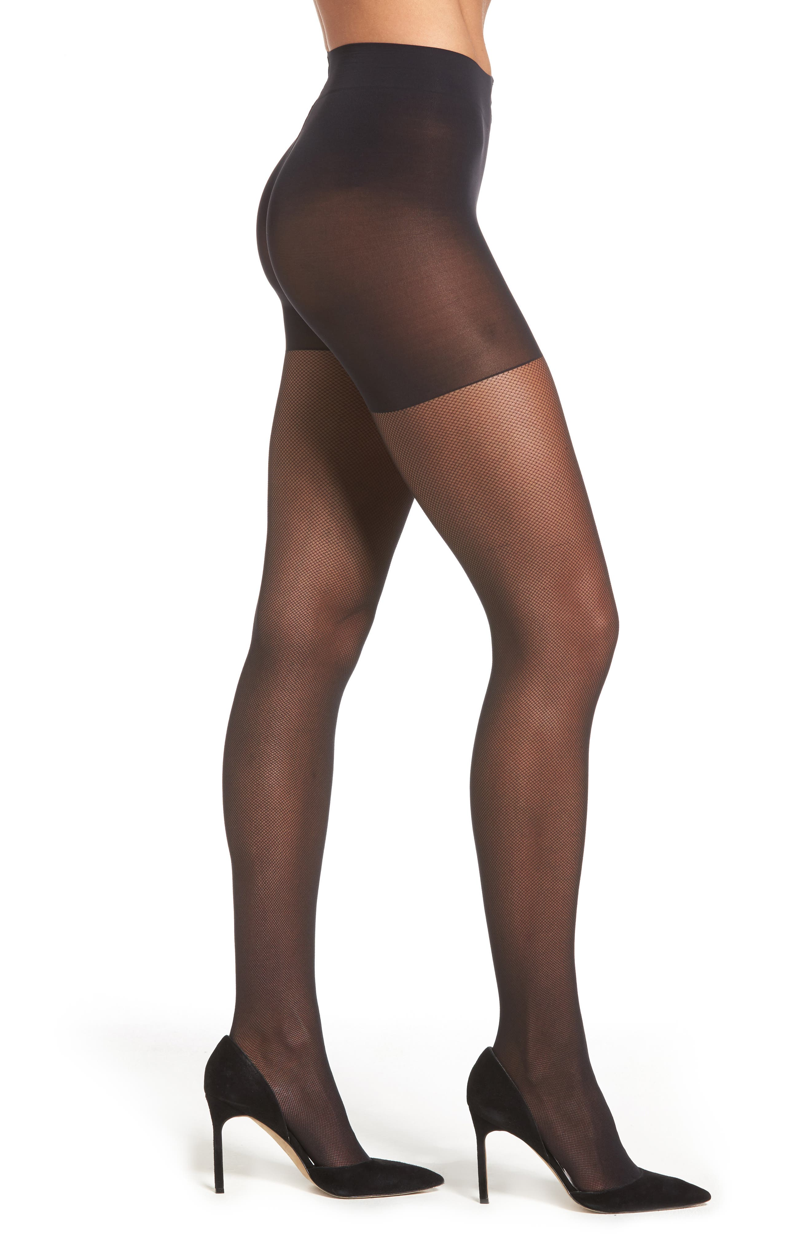 Perfect Nudes Micro Net Pantyhose,                             Main thumbnail 1, color,                             001