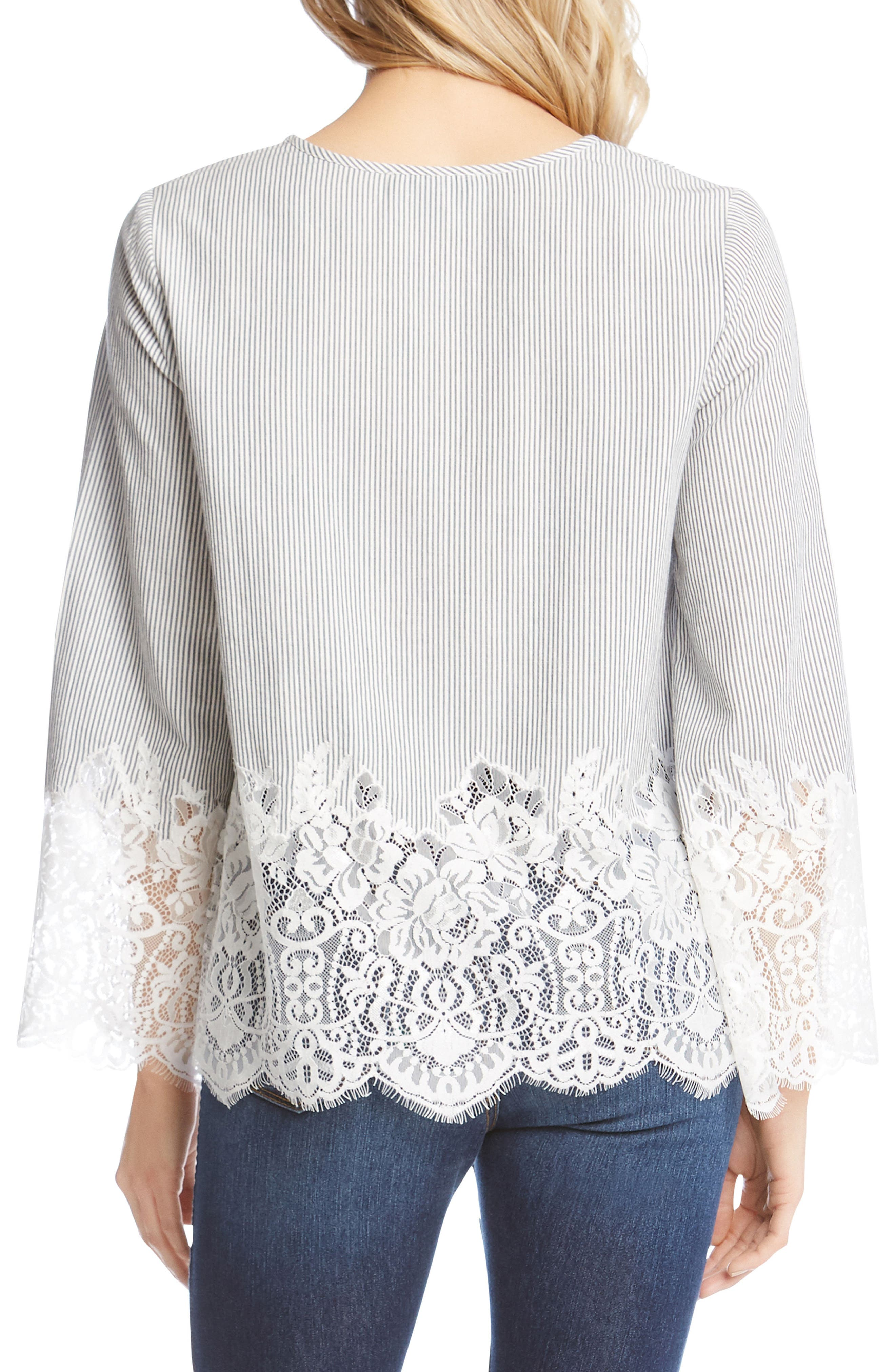 Lace Border Pinstripe Top,                             Alternate thumbnail 2, color,                             489