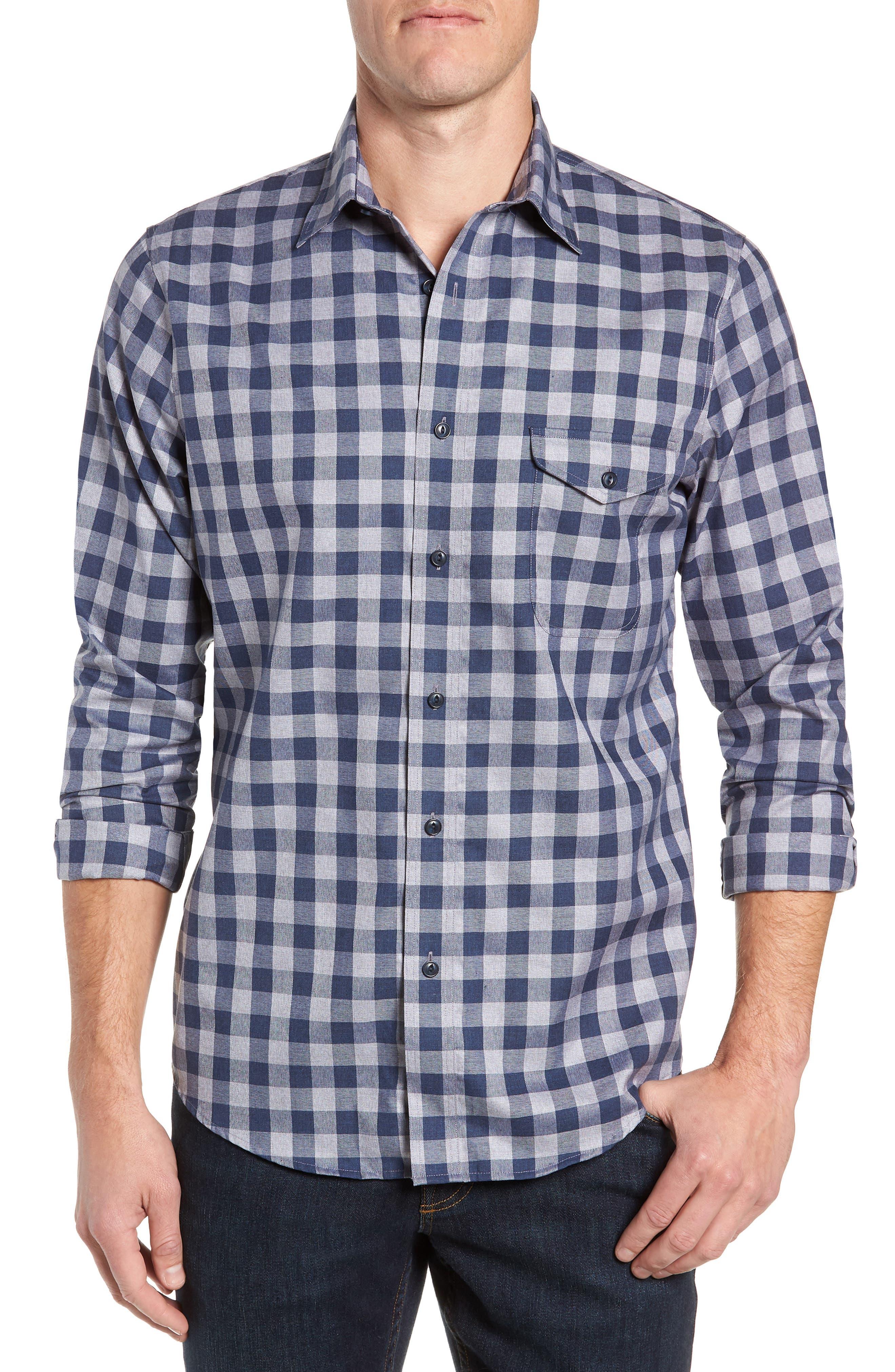 Regular Fit Non-Iron Check Sport Shirt,                         Main,                         color, 420