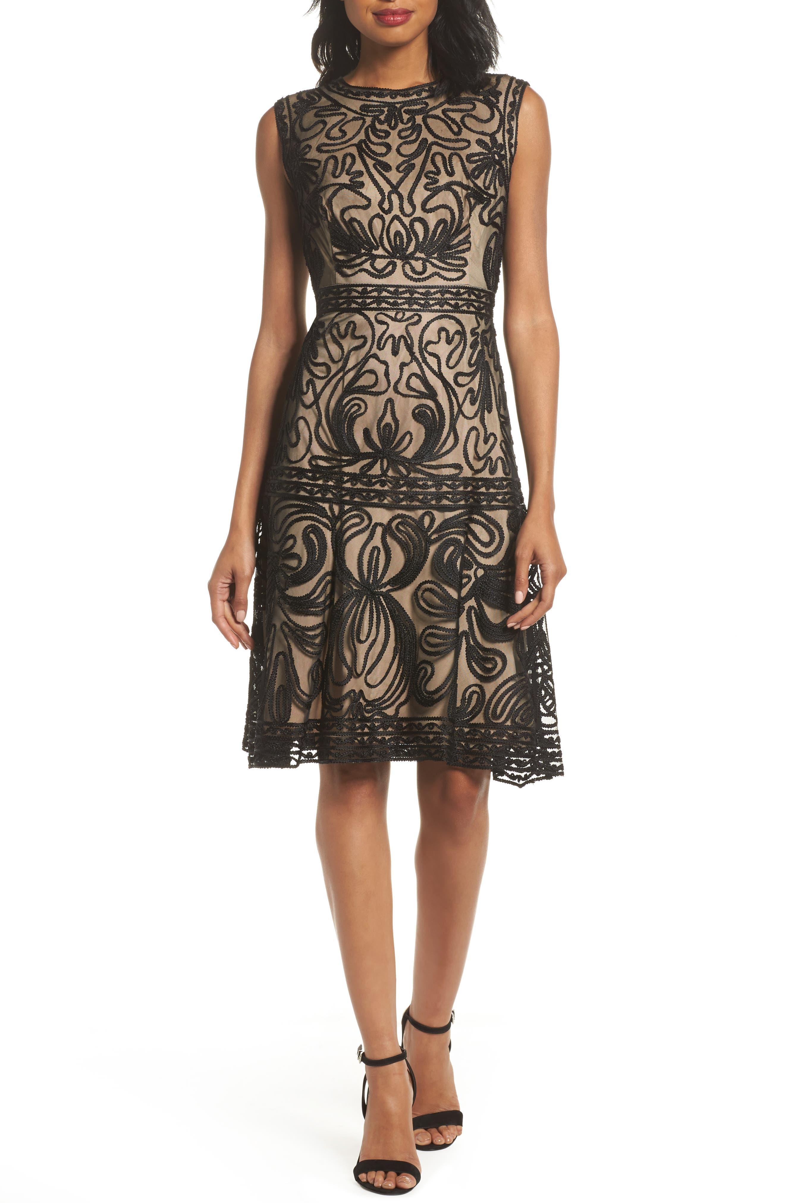 Soutache Fit & Flare Dress,                         Main,                         color, 001