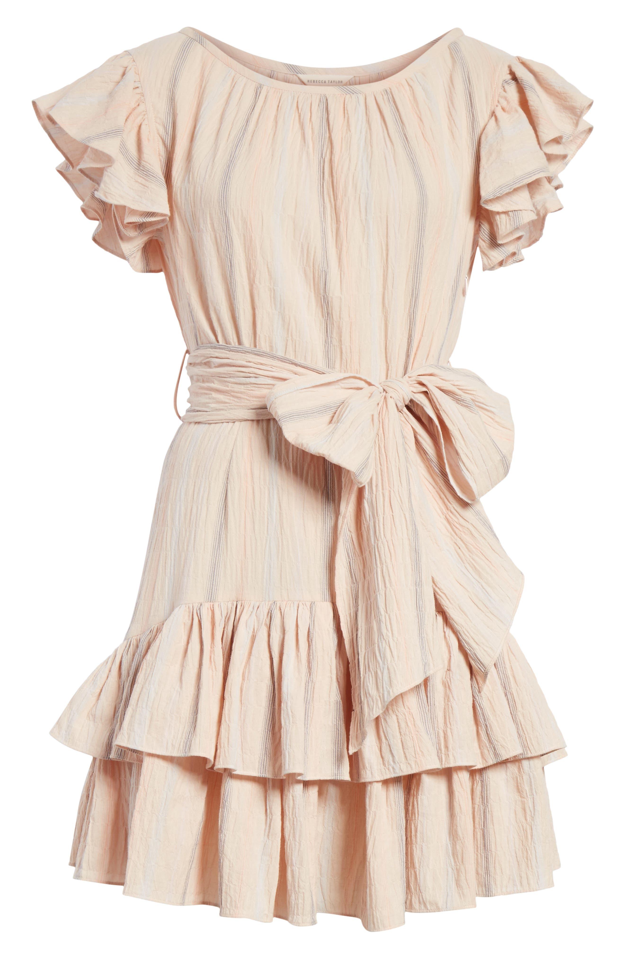 Stripe Ruffle Cap Sleeve Dress,                             Alternate thumbnail 6, color,
