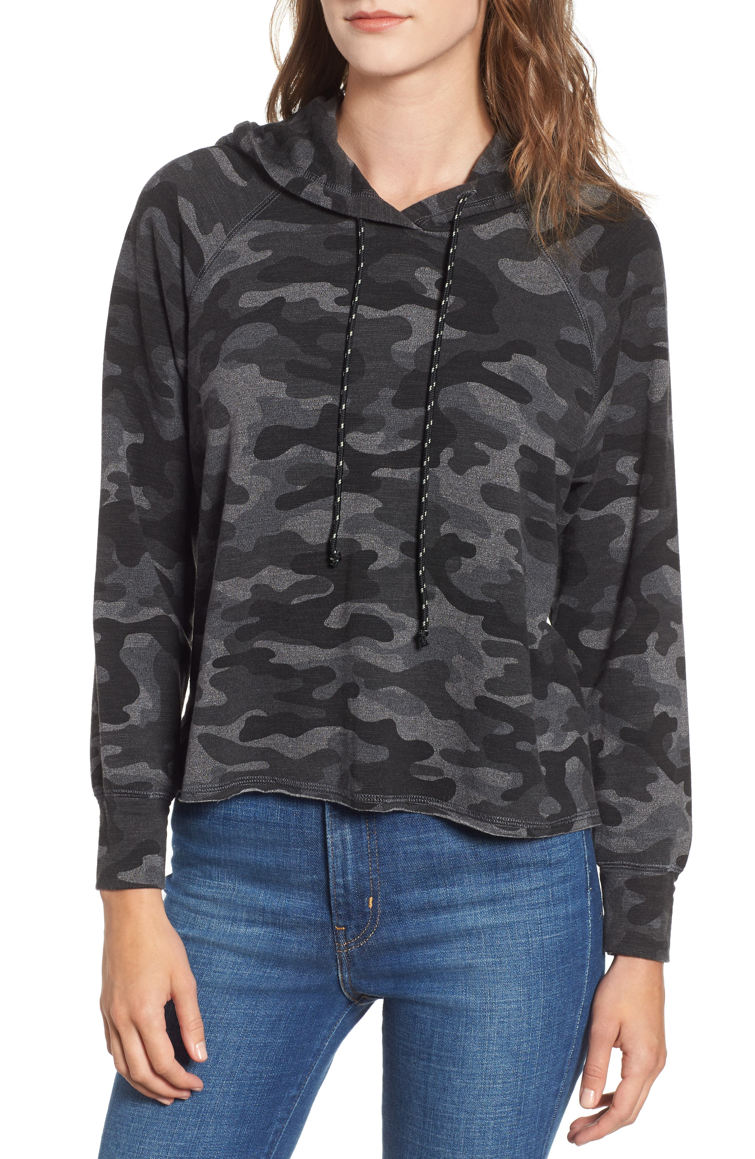 Camo Crop Hoodie,                             Main thumbnail 1, color,                             CHARCOAL