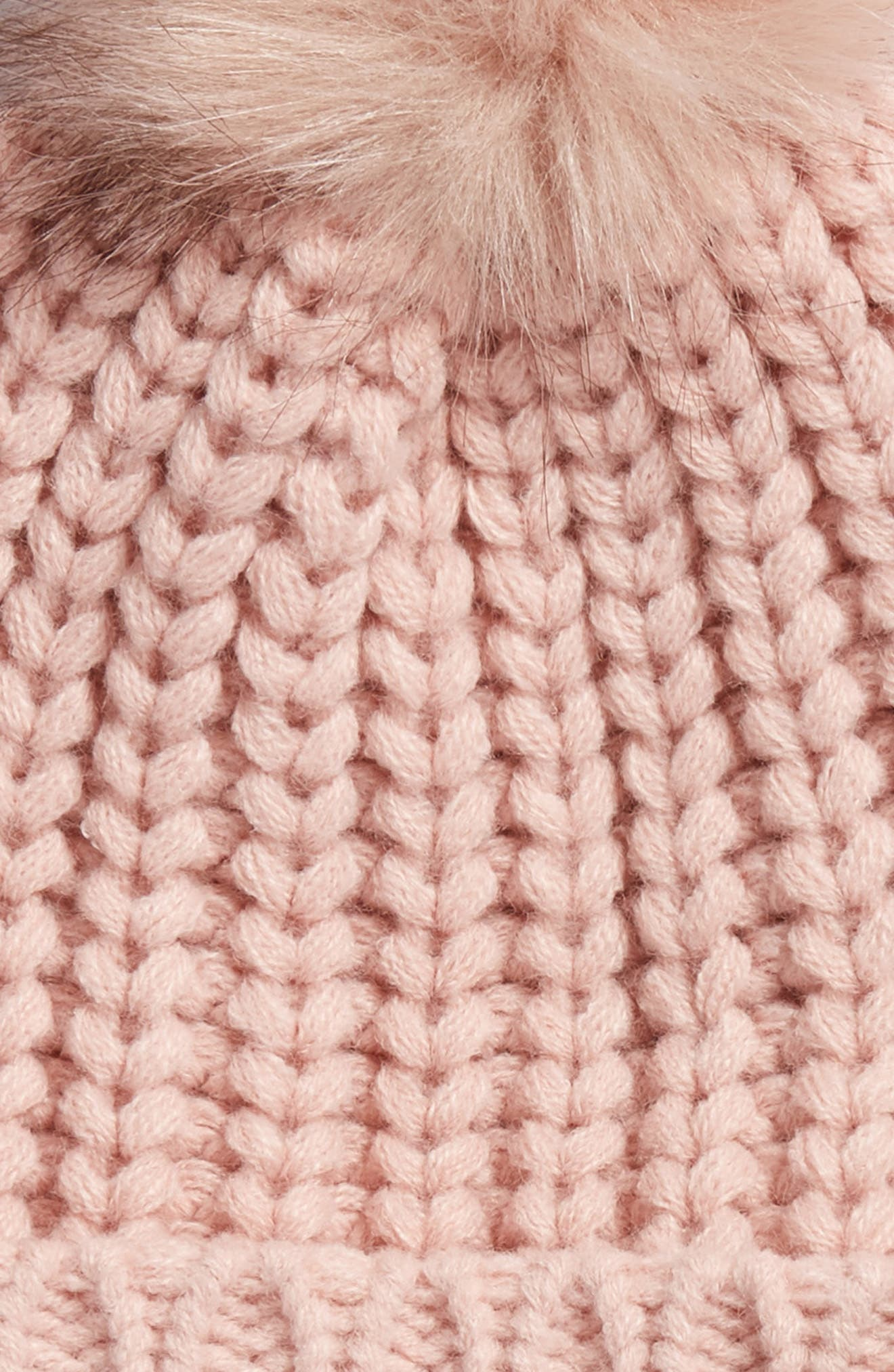 Saltburn Beanie with Faux Fur Pom,                             Alternate thumbnail 2, color,                             PINK