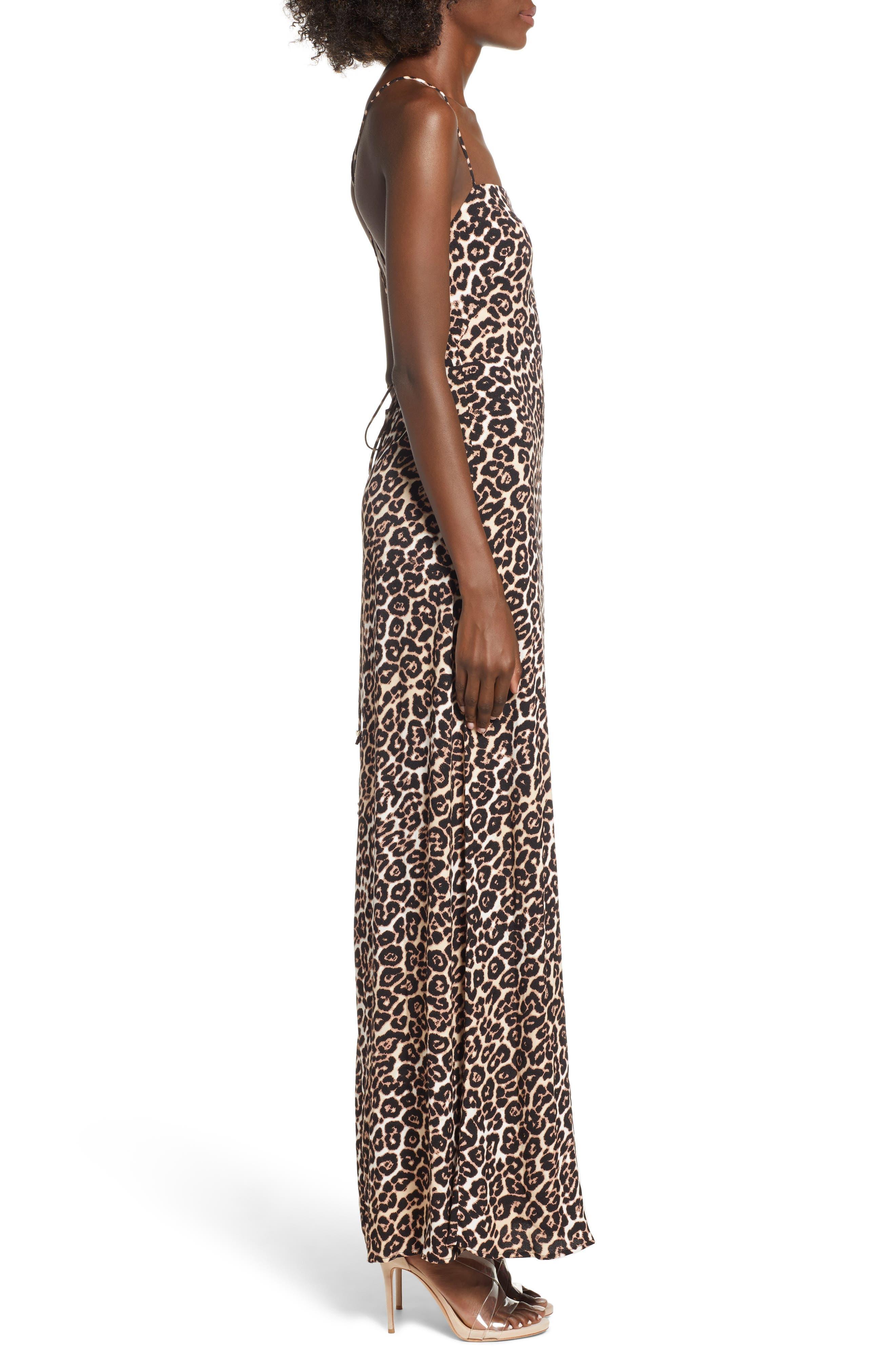 Aryn Lattice Detail Dress,                             Alternate thumbnail 3, color,                             LEOPARD