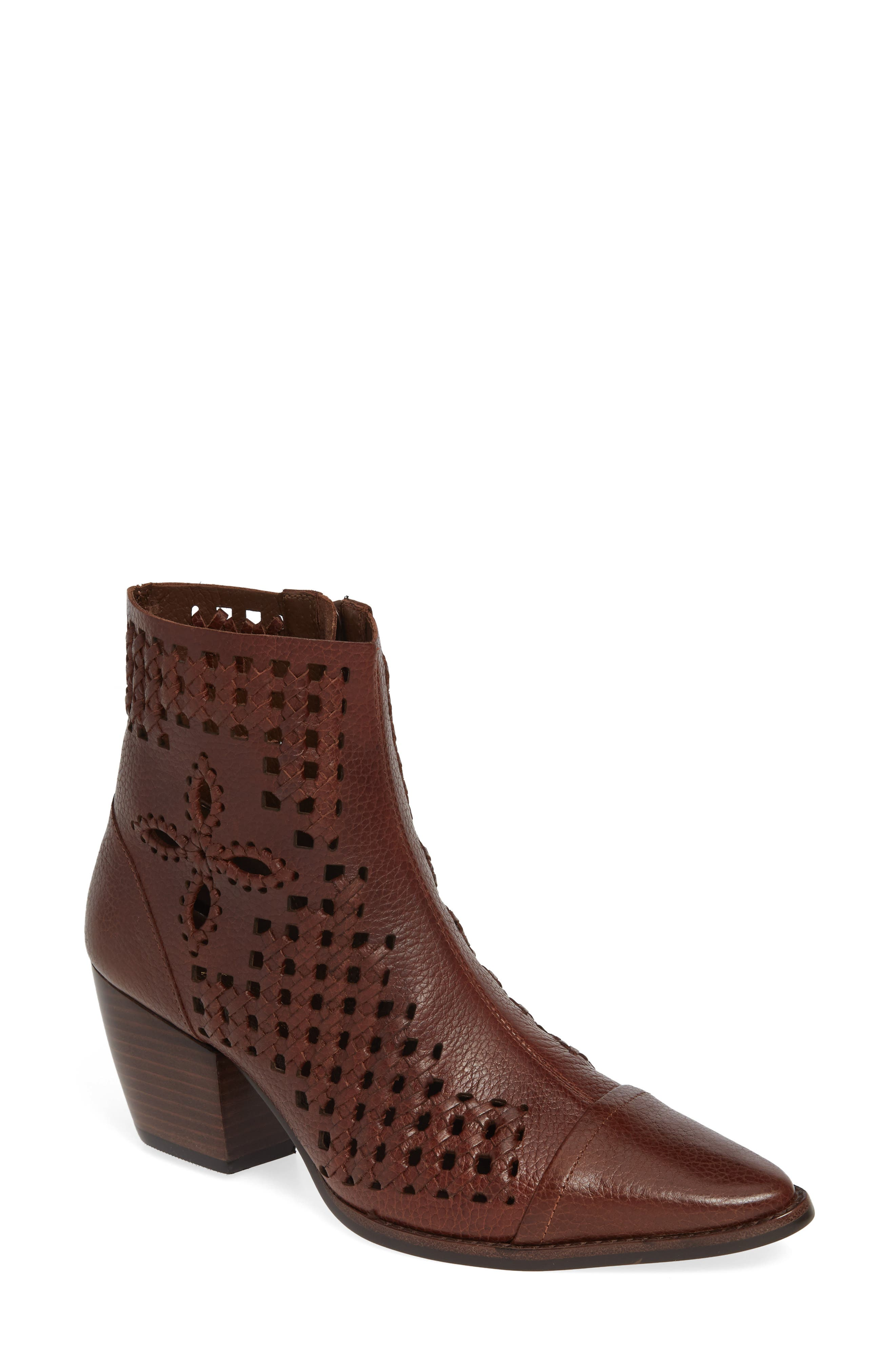 Matisse Bello Woven Pointy Toe Bootie- Brown
